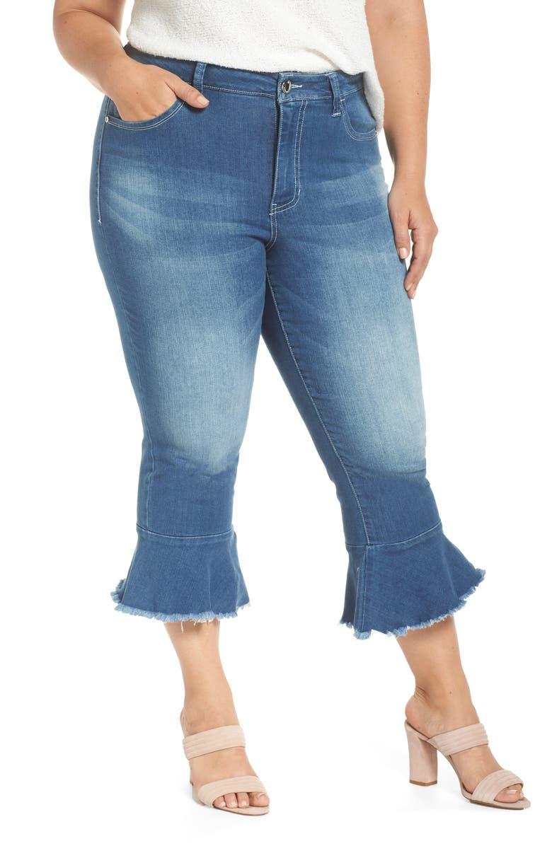 Ruffle Hem Crop Skinny Jeans