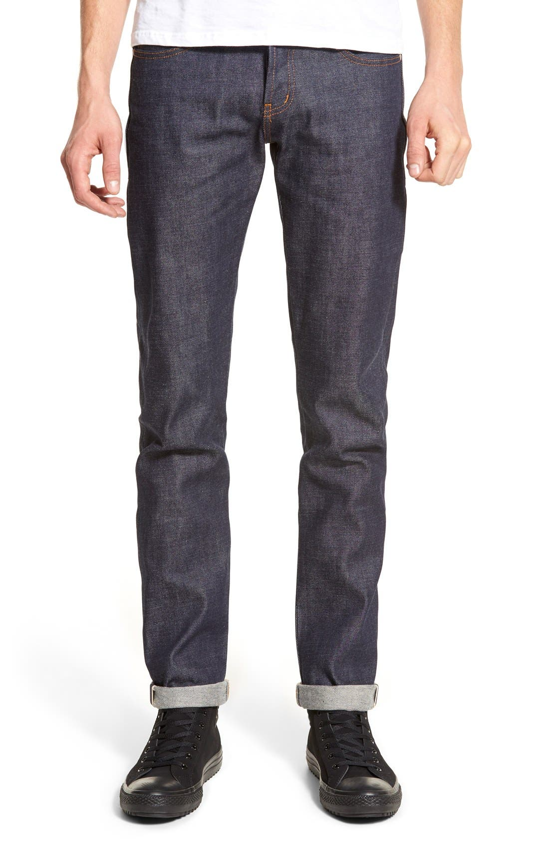 NAKED AND FAMOUS SUPER SKINNY GUY SKINNY FIT SELVEDGE JEANS