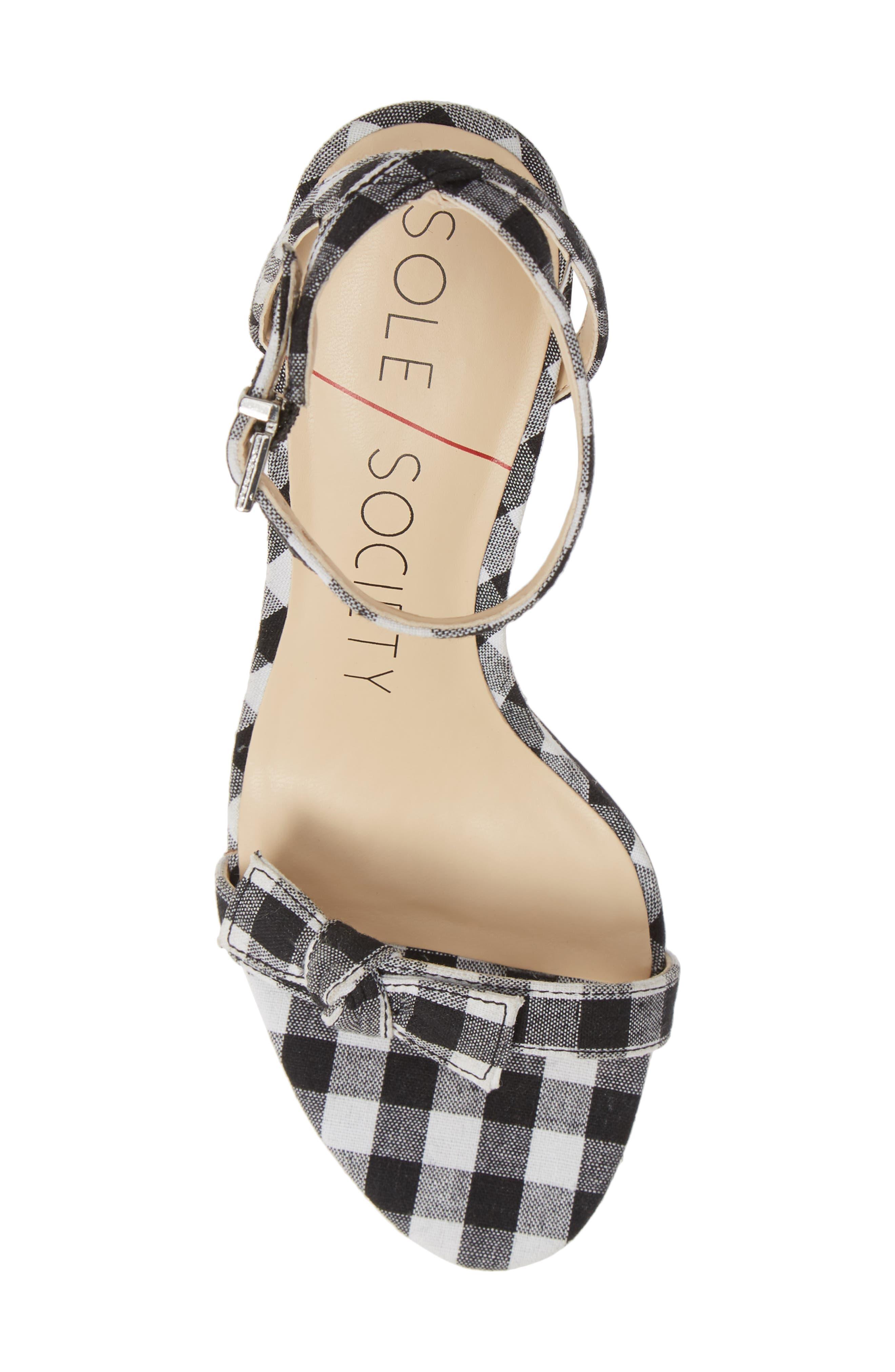 Avrilie Knotted Sandal,                             Alternate thumbnail 3, color,                             Black/ White Gingham