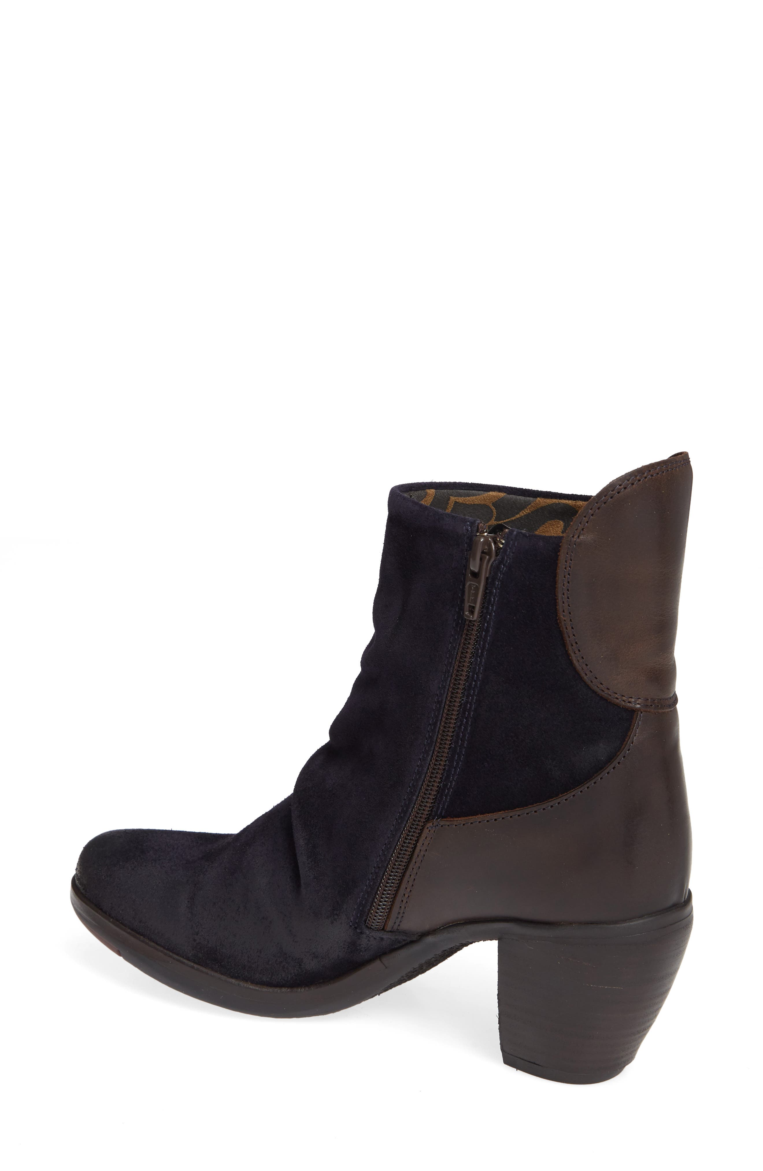 Hota Slouch Bootie,                             Alternate thumbnail 2, color,                             Navy Dark Brown Oil Suede