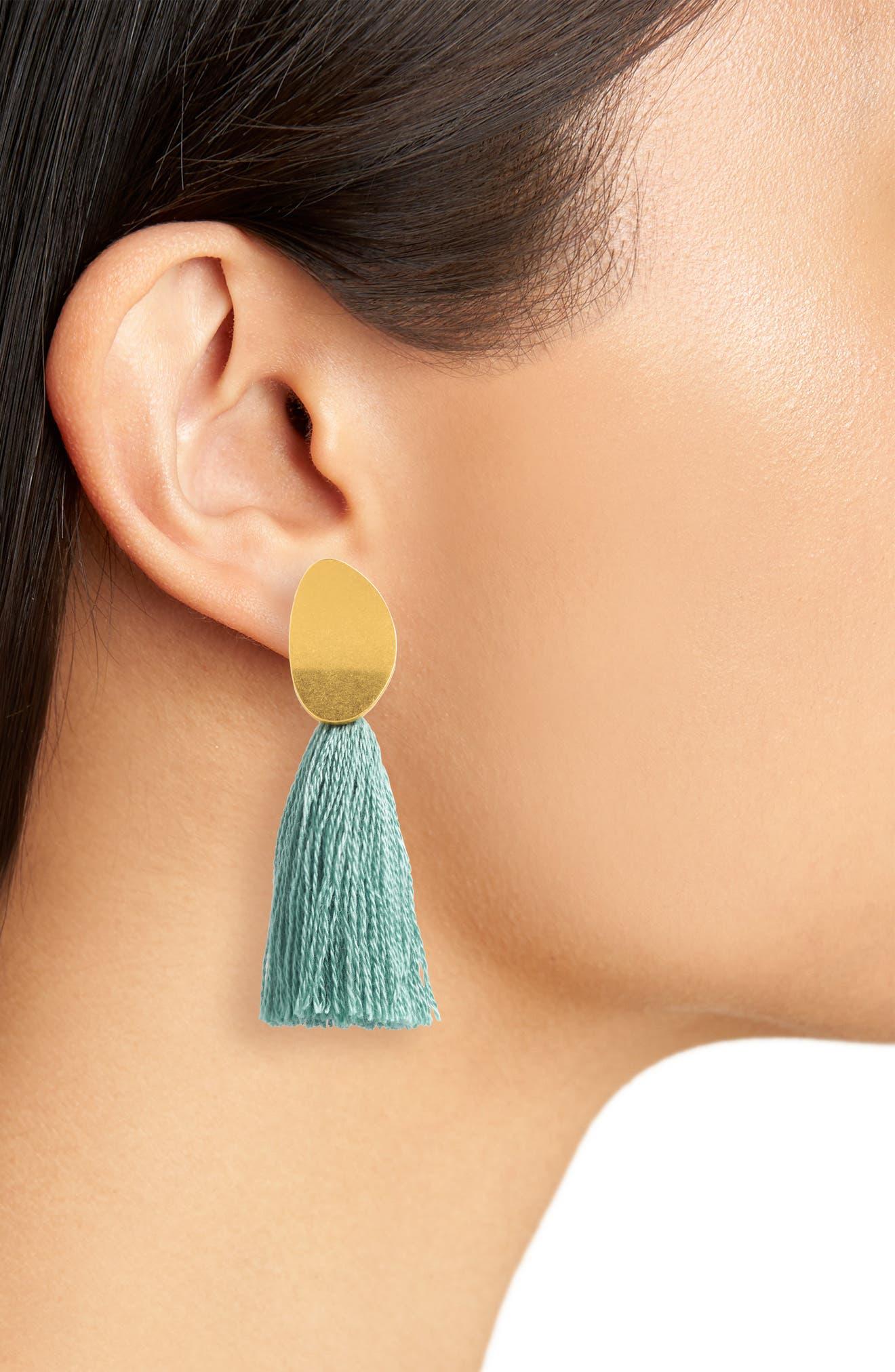 Curved Tassel Earrings,                             Alternate thumbnail 2, color,                             Pale Evergreen