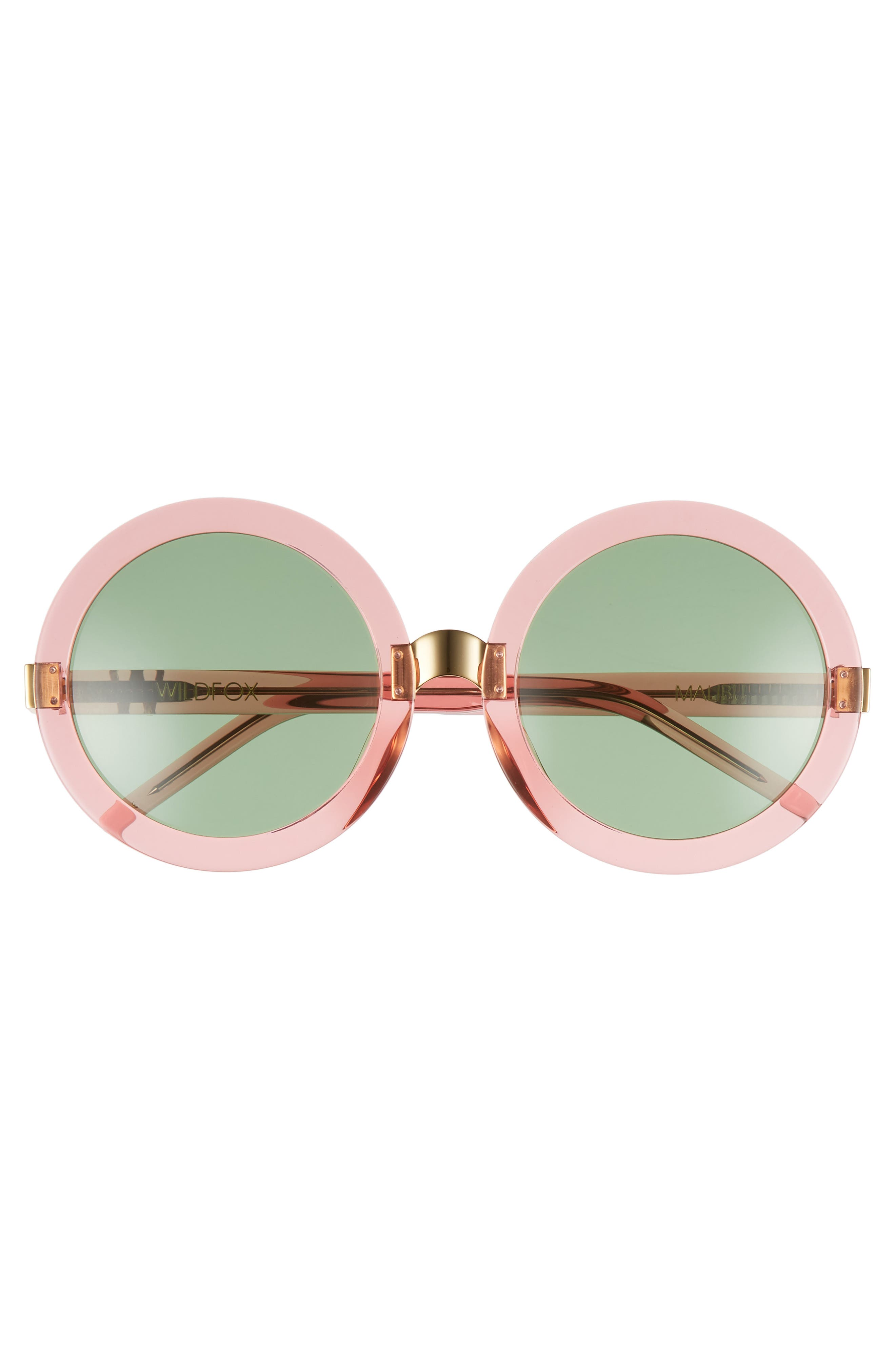'Malibu' 56mm Round Sunglasses,                             Alternate thumbnail 3, color,                             Rosewater/ Bottle Green