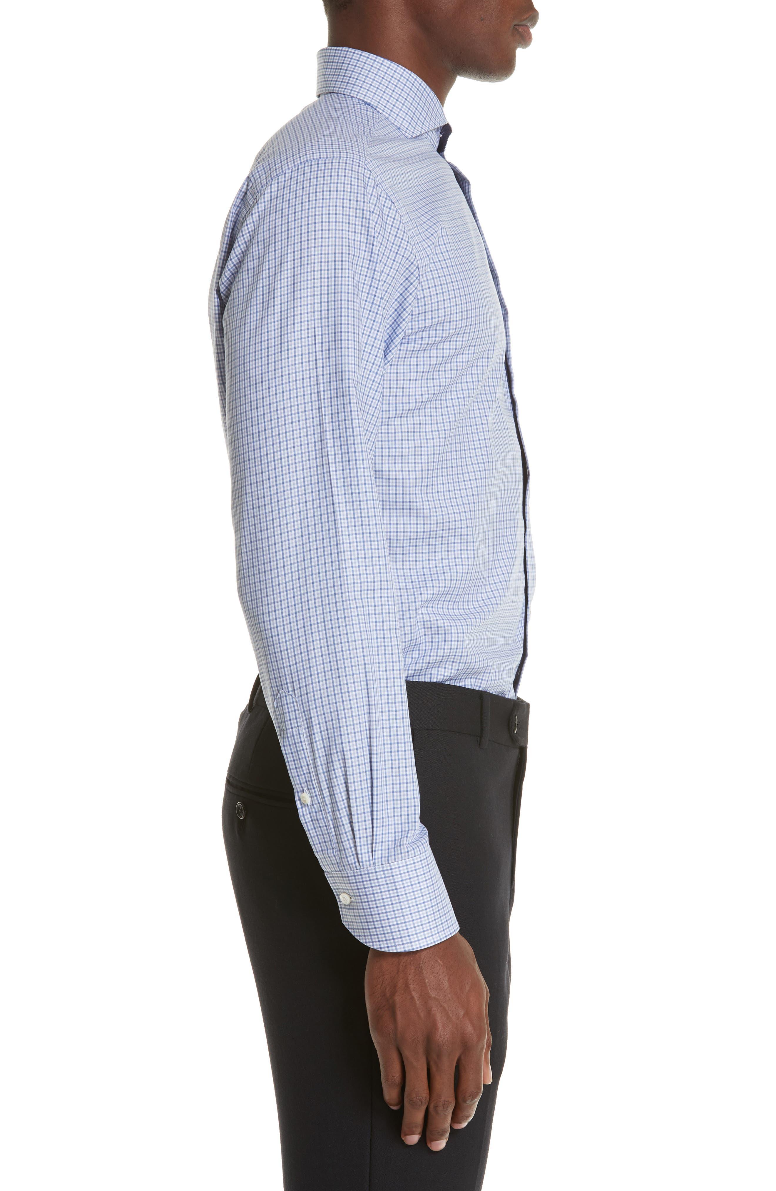 Regular Fit Check Dress Shirt,                             Alternate thumbnail 4, color,                             Medium Blue