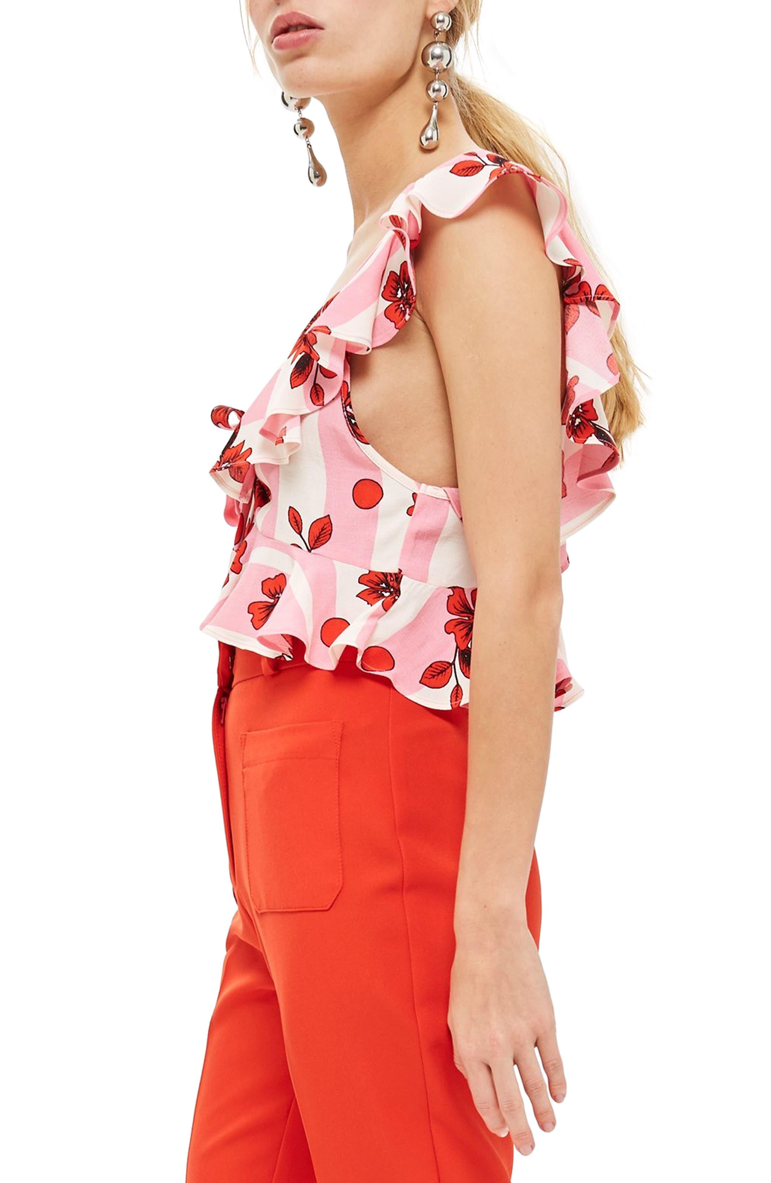 Brigitte Floral Suntop,                             Alternate thumbnail 5, color,                             Pink