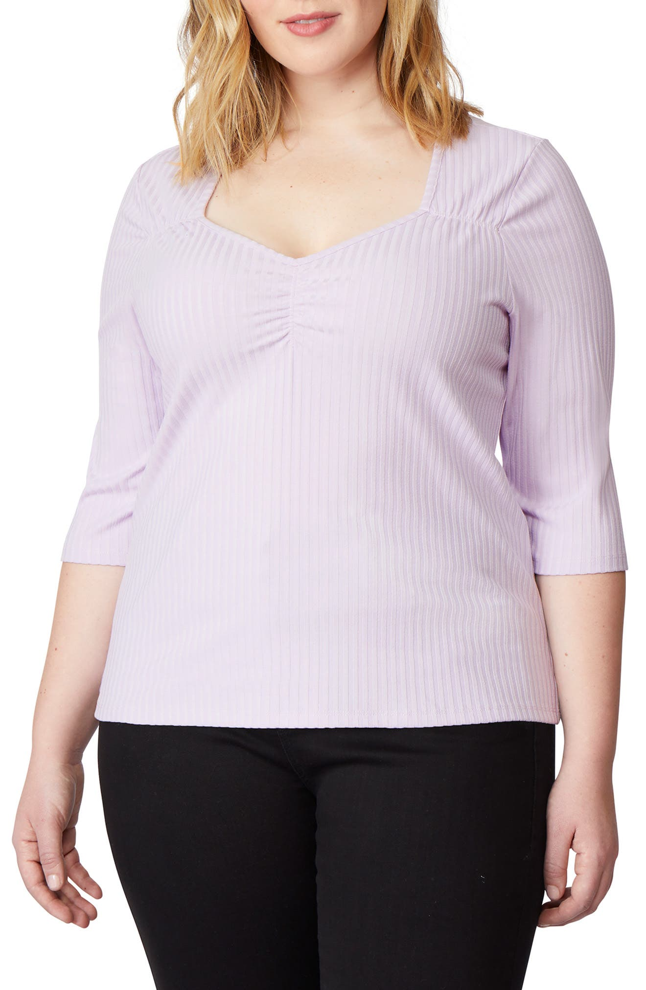 REBEL WILSON X ANGELS Sweetheart Rib Knit Top in Orchid
