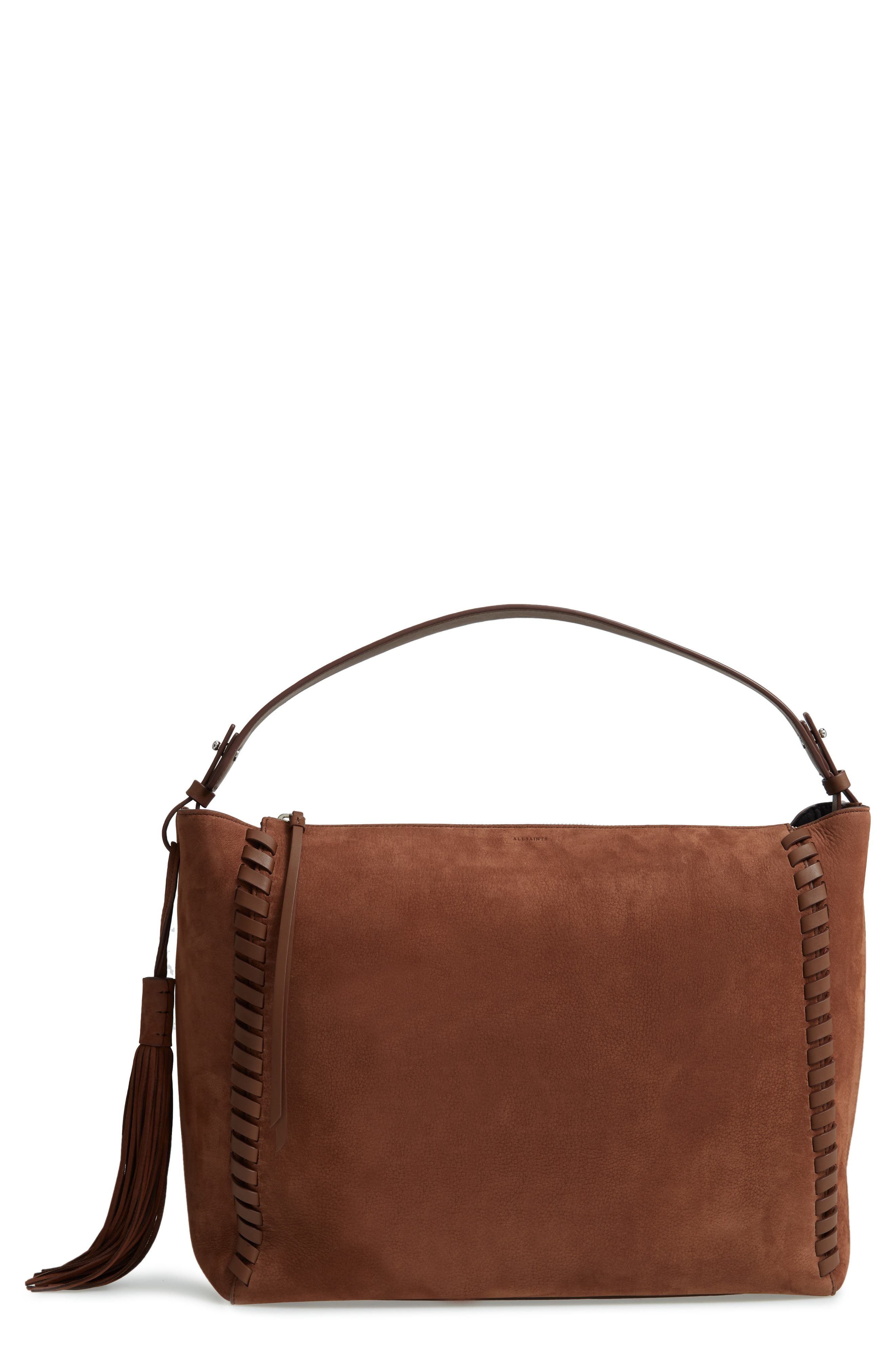Kepi East/West Leather Shoulder Bag,                             Main thumbnail 1, color,                             Coffee Brown