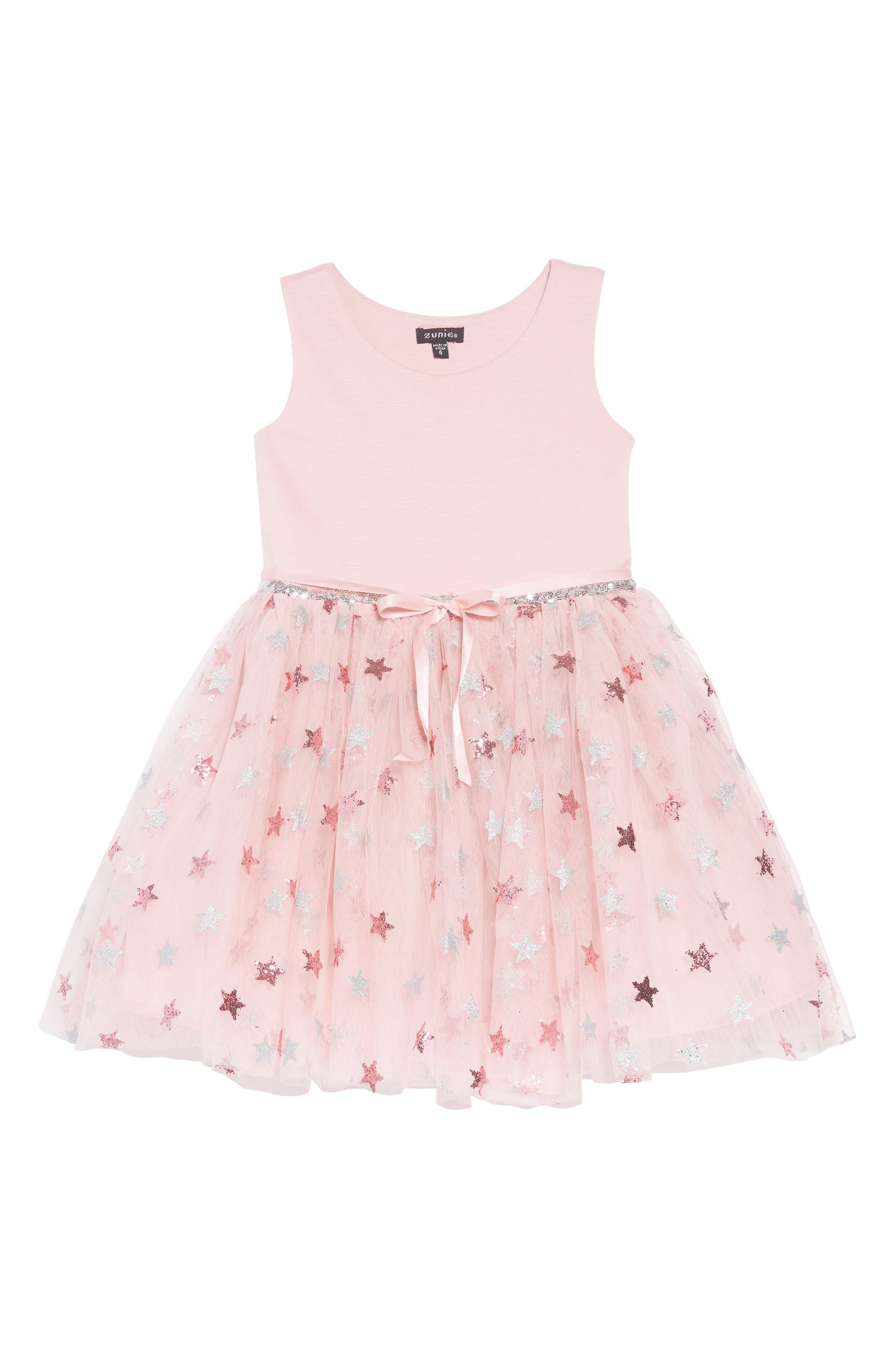 Glitter Star Ponte & Tulle Dress,                         Main,                         color, Mauve/ Silver