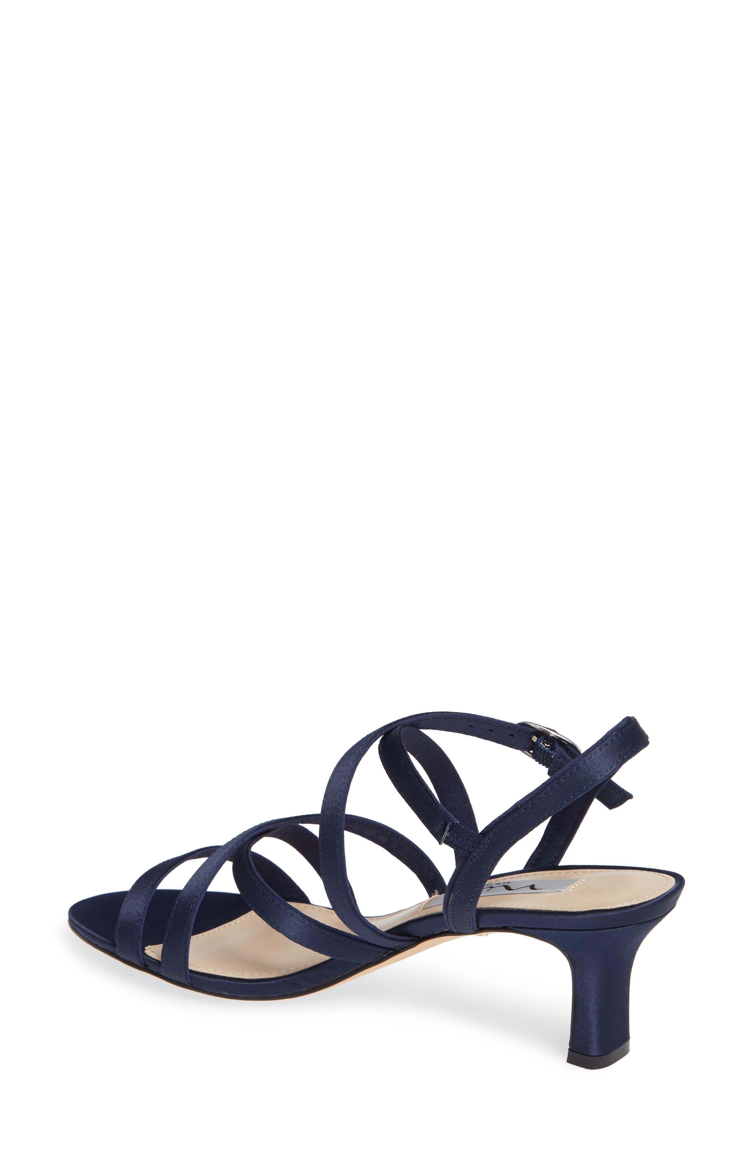 Genaya Strappy Evening Sandal,                             Alternate thumbnail 2, color,                             Navy Satin