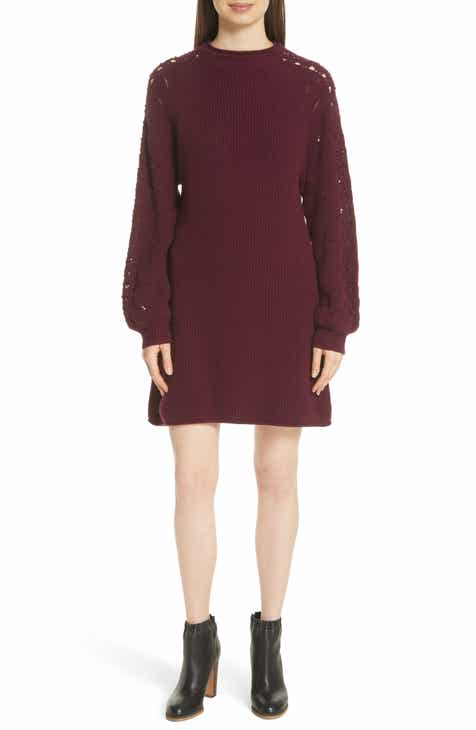 bc99739cef See by Chloé Open Knit Sleeve Sweater Dress