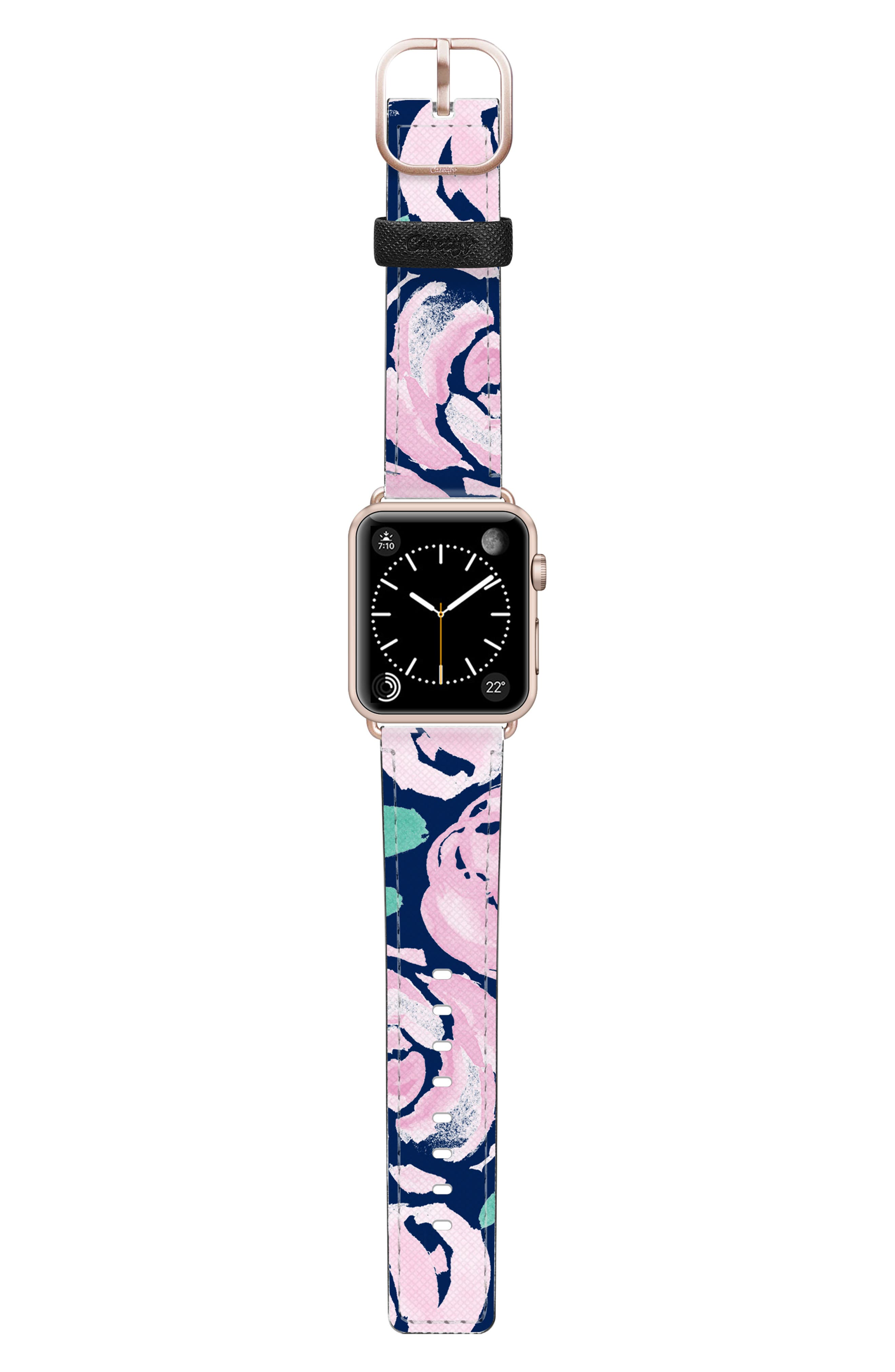 PINK PEONIES SAFFIANO FAUX LEATHER APPLE WATCH STRAP