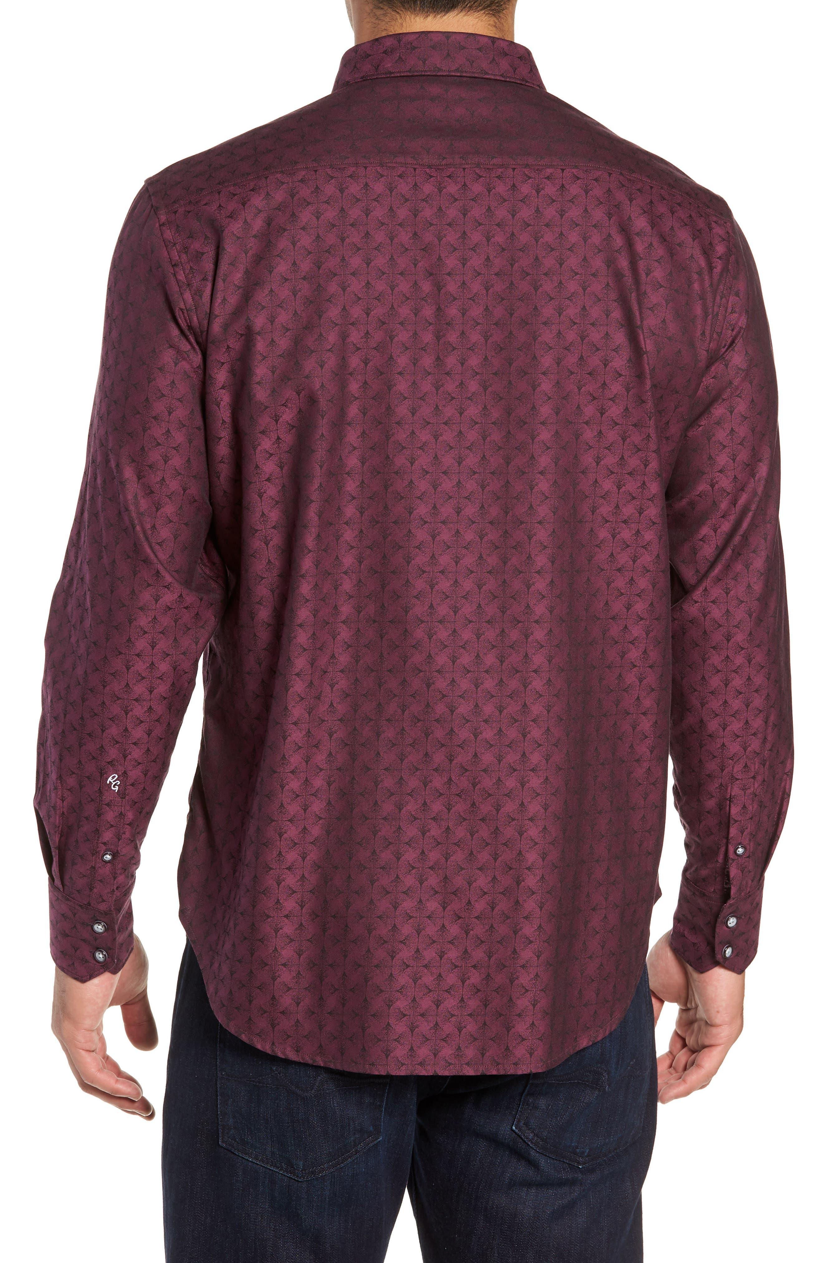 Diamante Classic Fit Print Sport Shirt,                             Alternate thumbnail 4, color,                             Berry