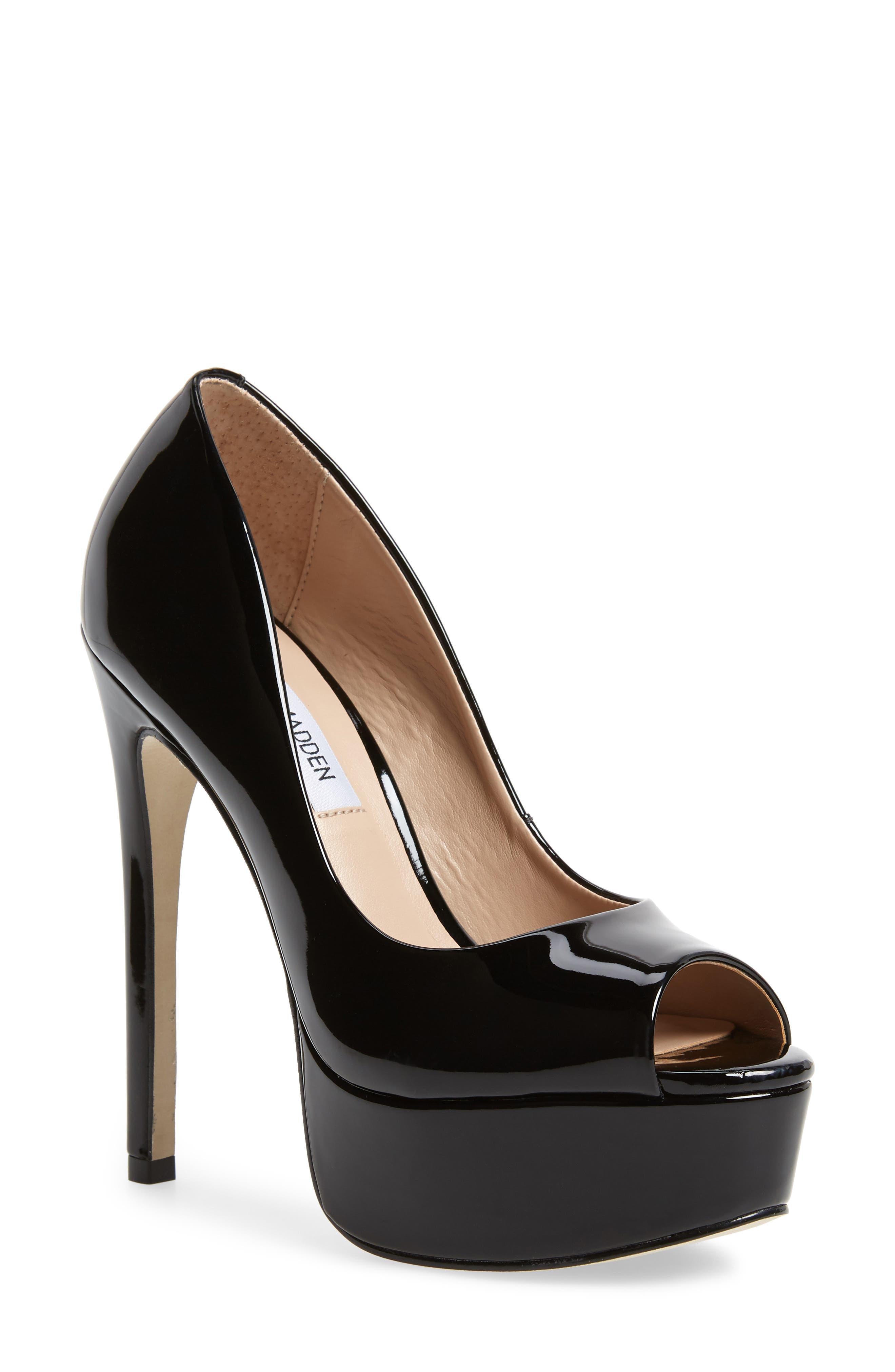 Deanna Platform Sandal,                             Main thumbnail 1, color,                             Black Patent
