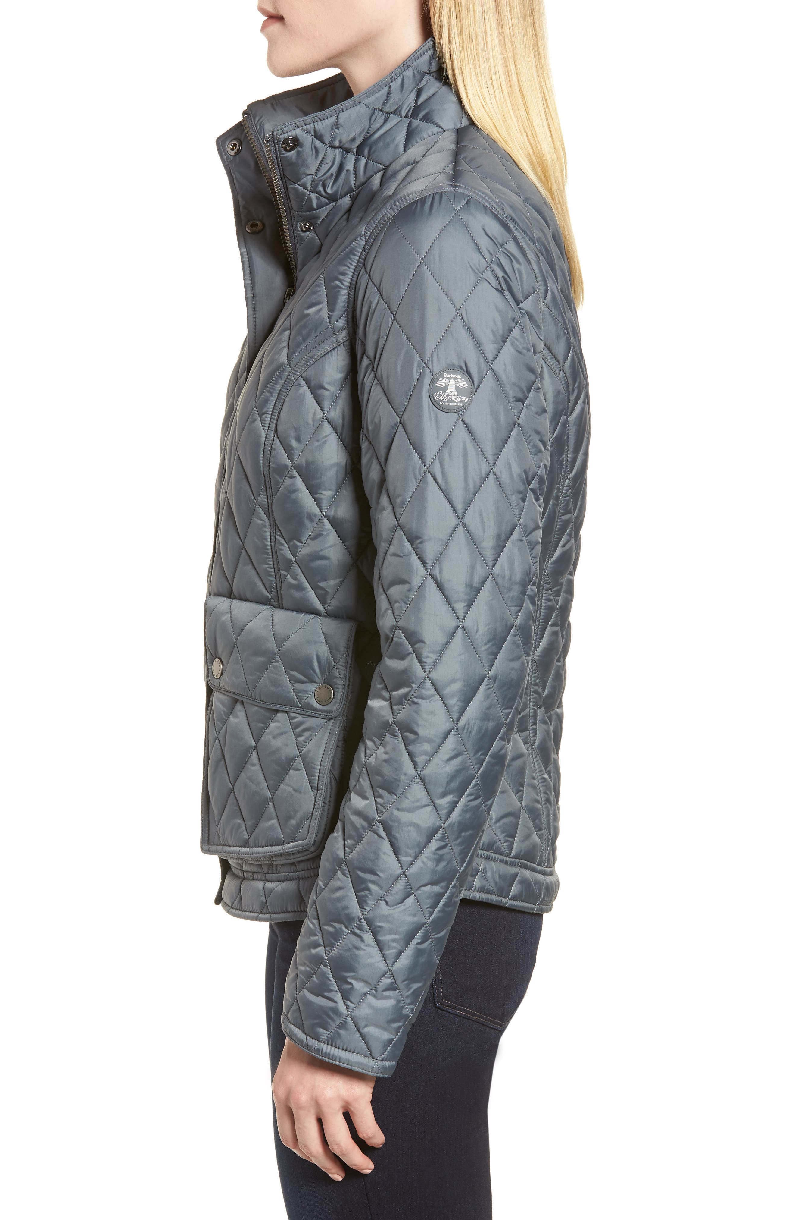 Fairway Quilted Jacket,                             Alternate thumbnail 3, color,                             Washed Charcoal