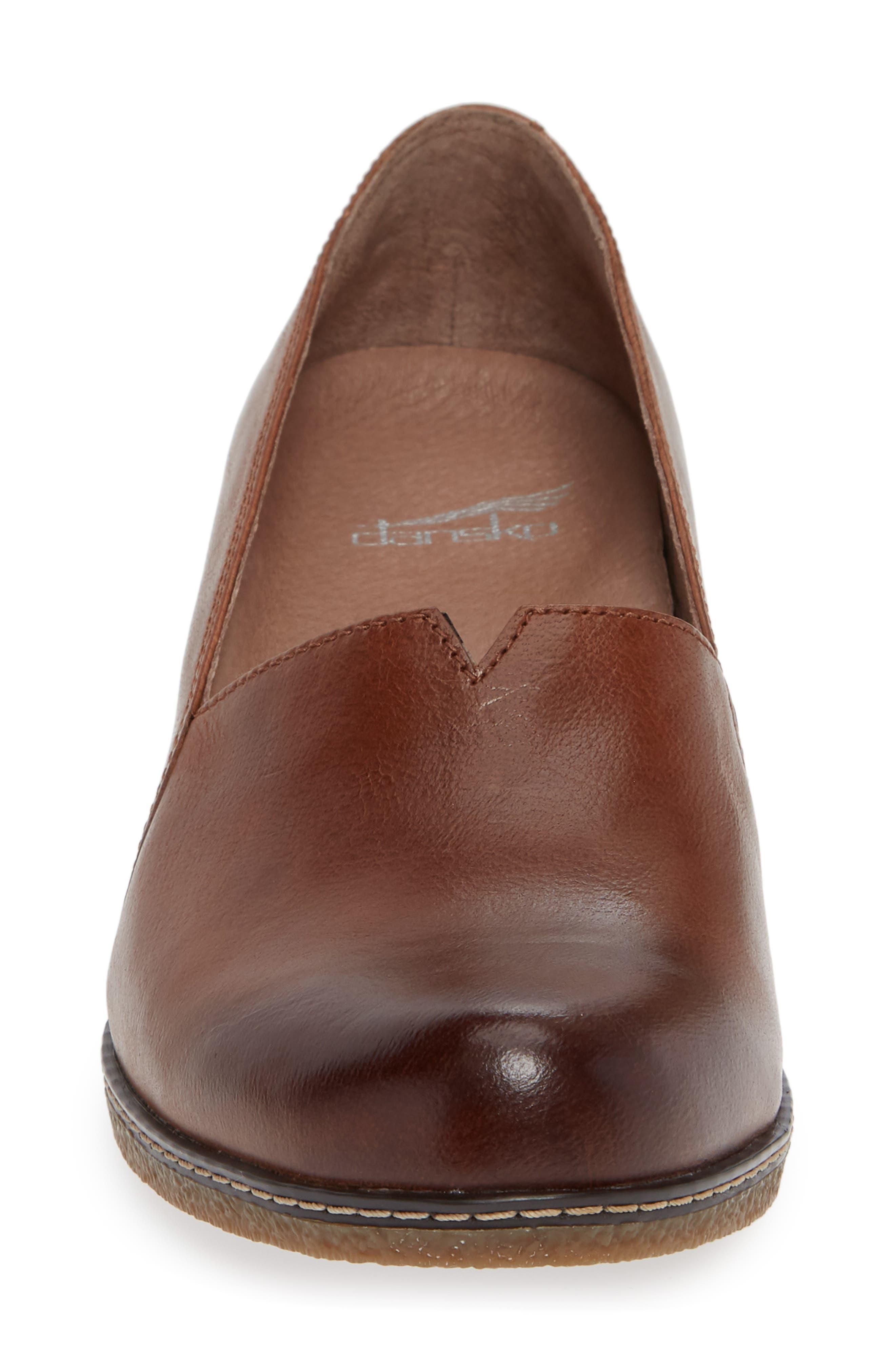 Liliana Concealed Wedge Slip-On,                             Alternate thumbnail 4, color,                             Chestnut Burnished Leather