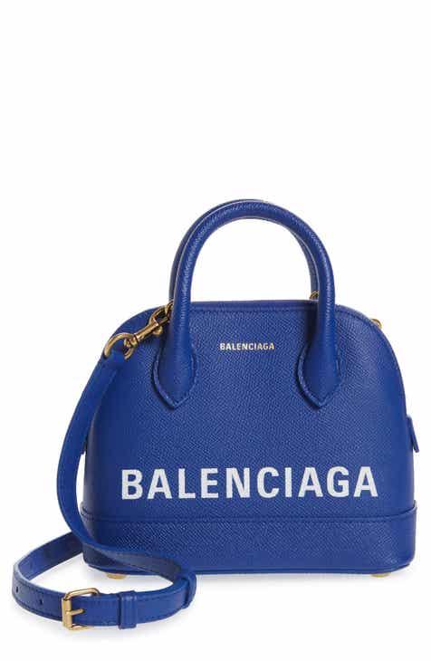 Balenciaga Small Ville Logo Leather Dome Satchel