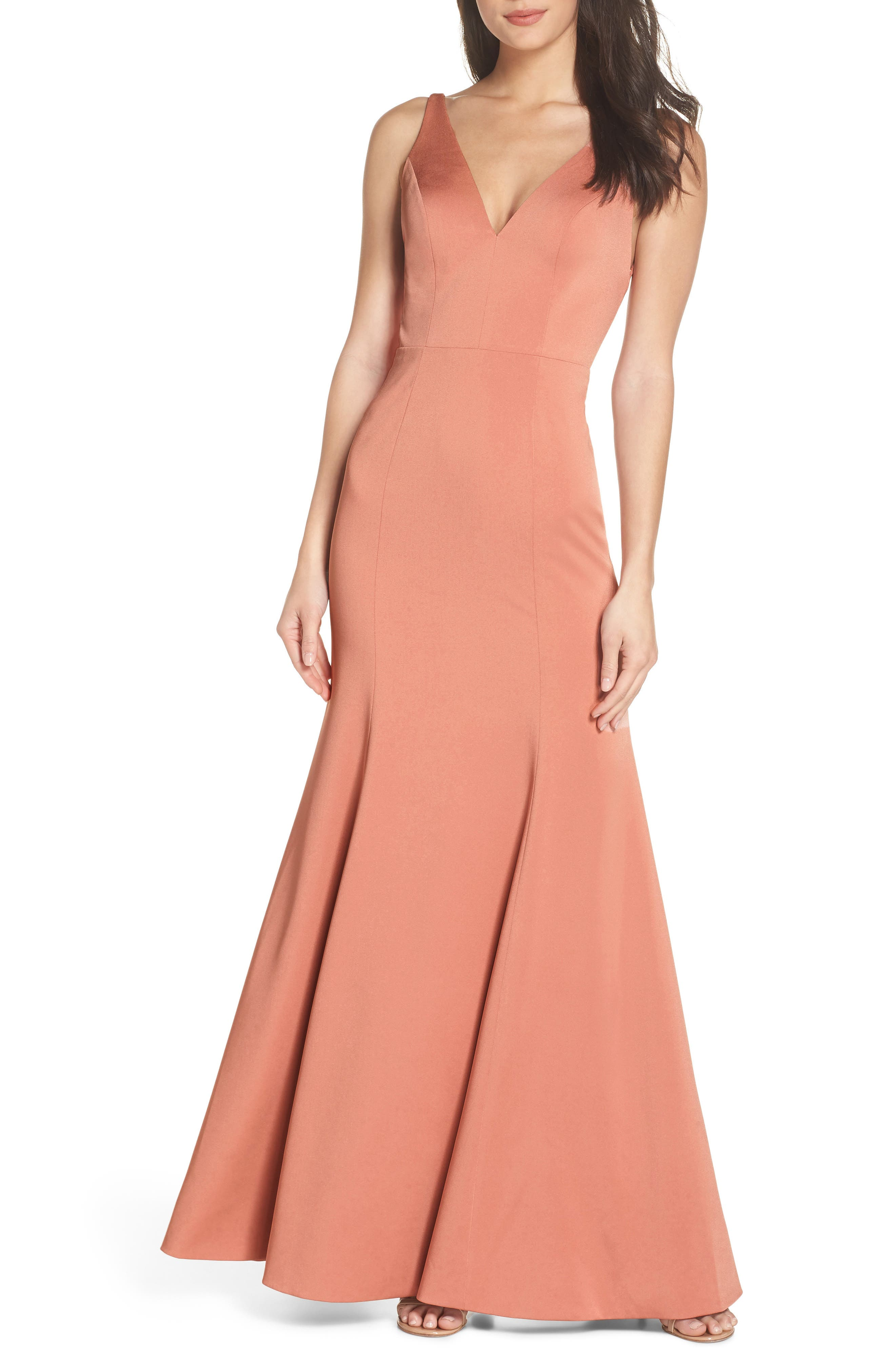 Jade Luxe Crepe V-Neck Gown,                             Main thumbnail 1, color,                             Sedona Sunset