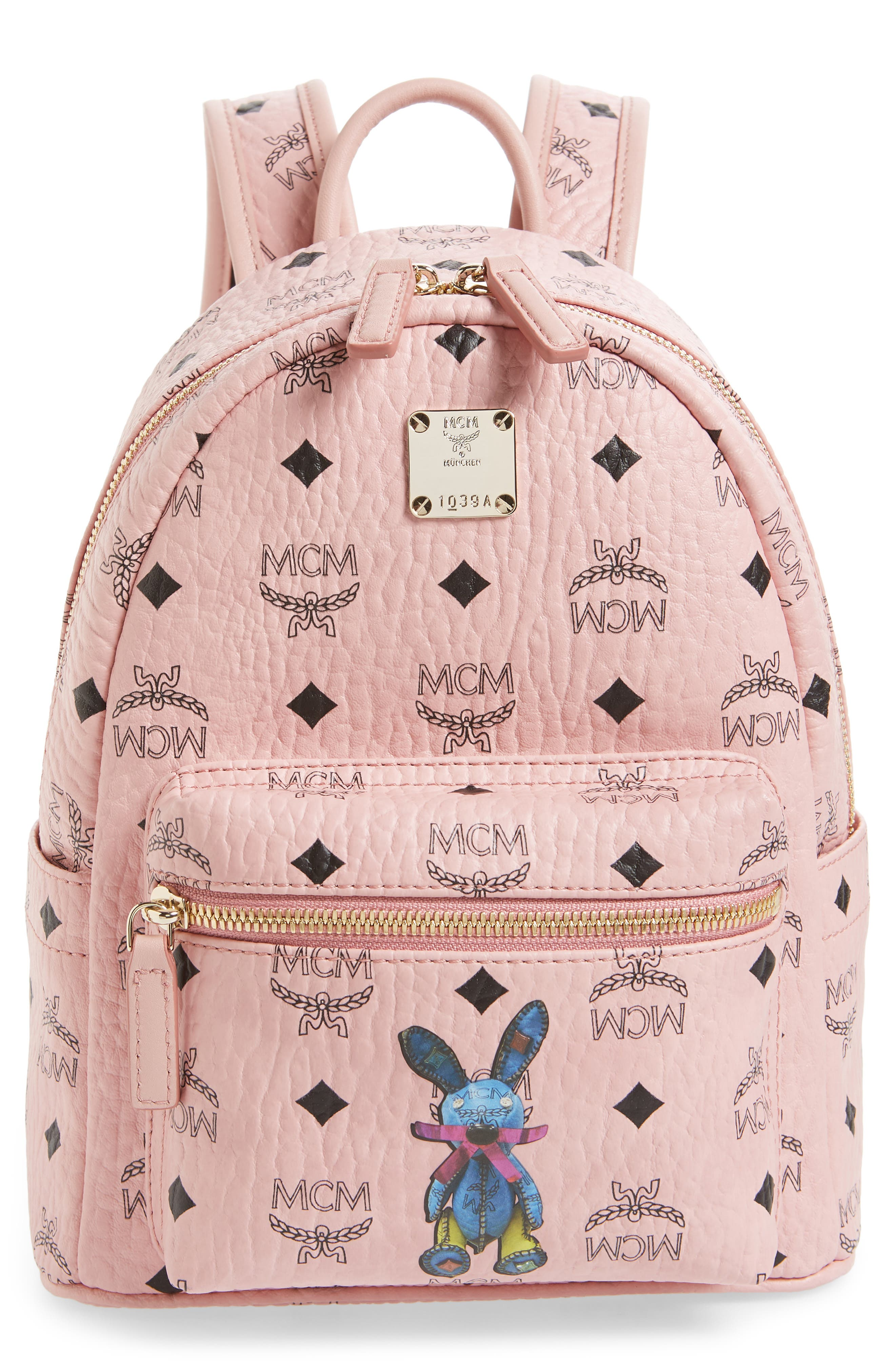 RABBIT MINI COATED CANVAS BACKPACK - PINK
