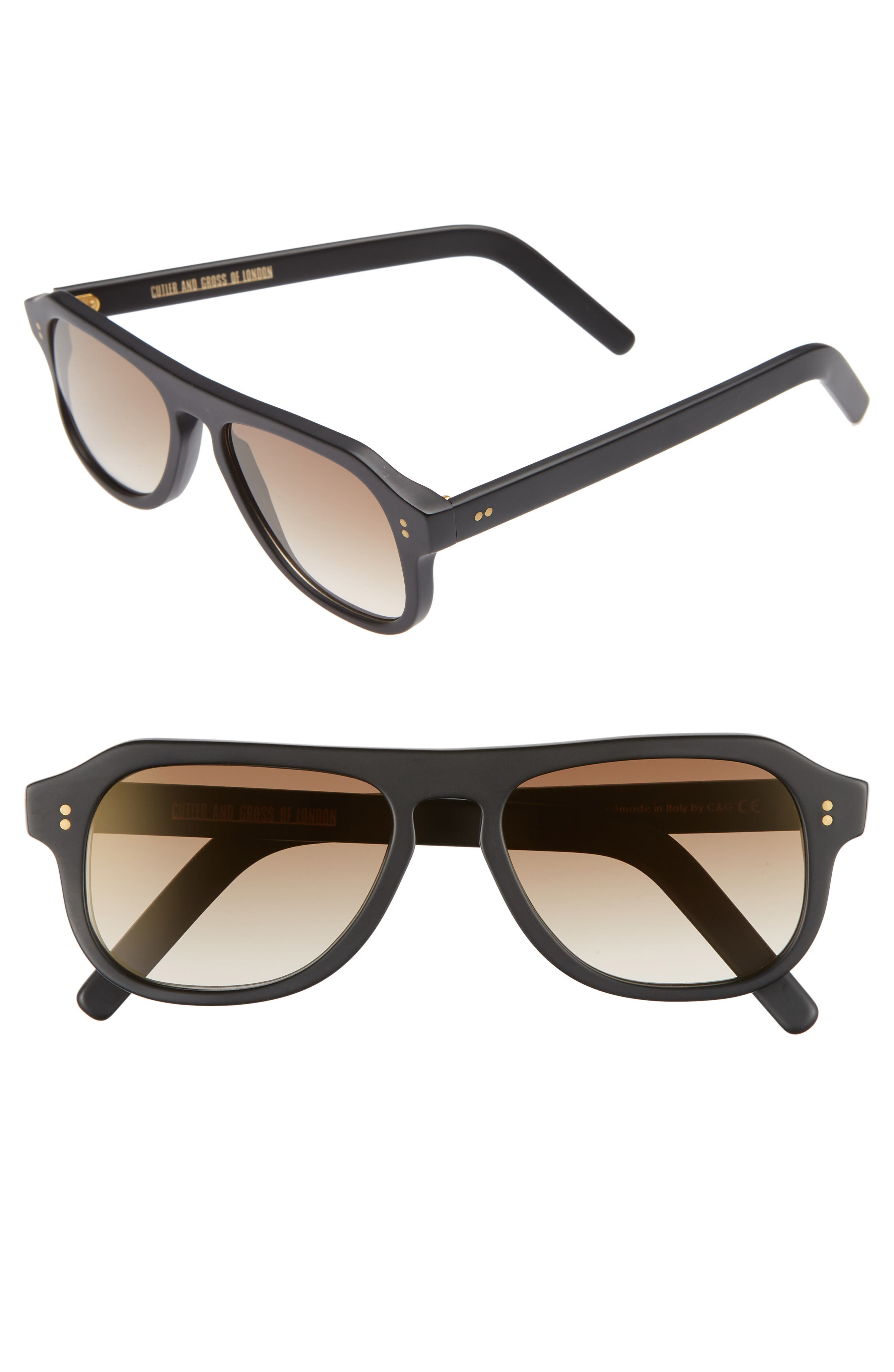 CUTLER AND GROSS 53MM POLARIZED SUNGLASSES - MATTE BLACK/ BROWN