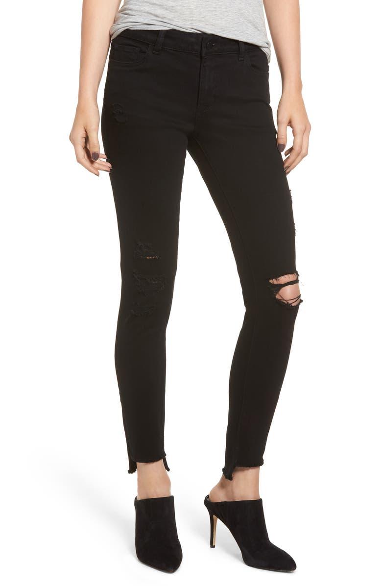 Emma Ripped Low Rise Step Hem Skinny Jeans