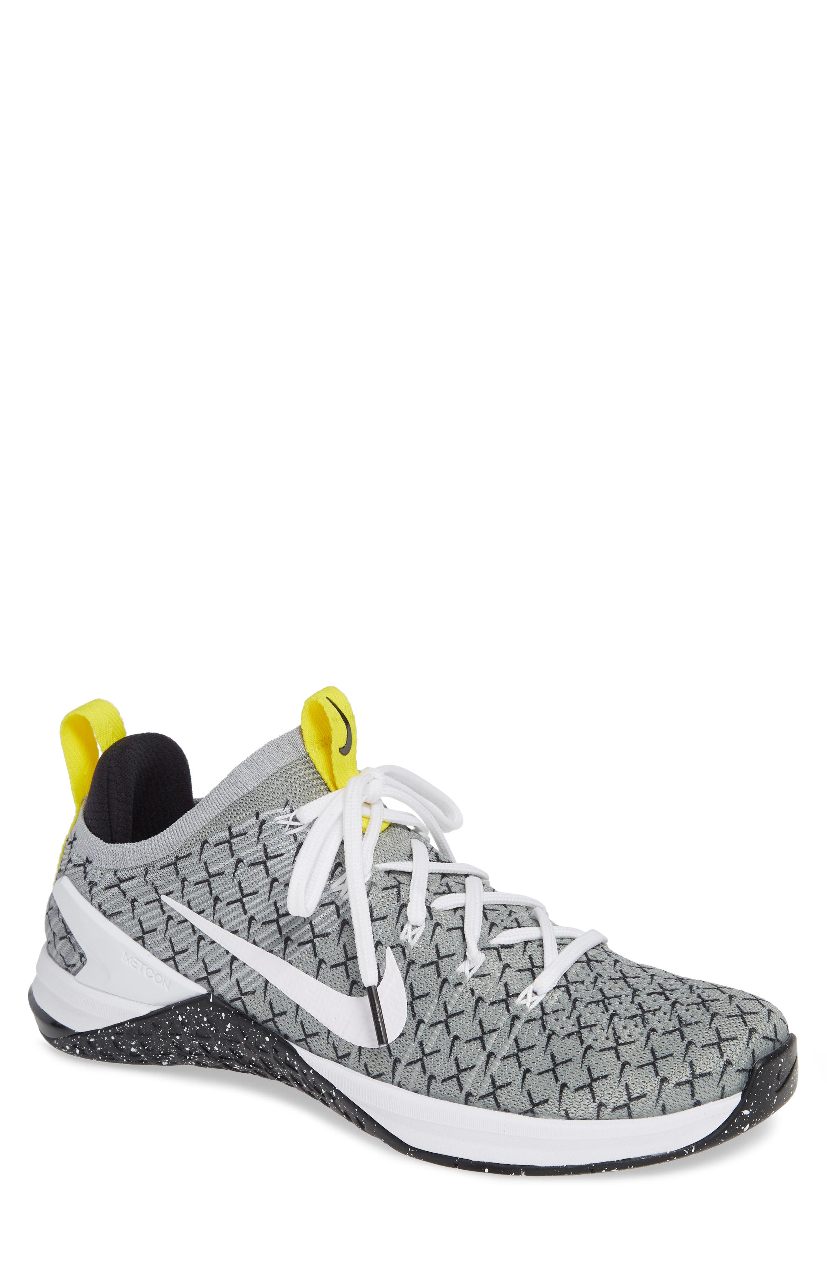 Metcon DSX Flyknit 2 Training Shoe,                         Main,                         color, Black/ White/ Yellow