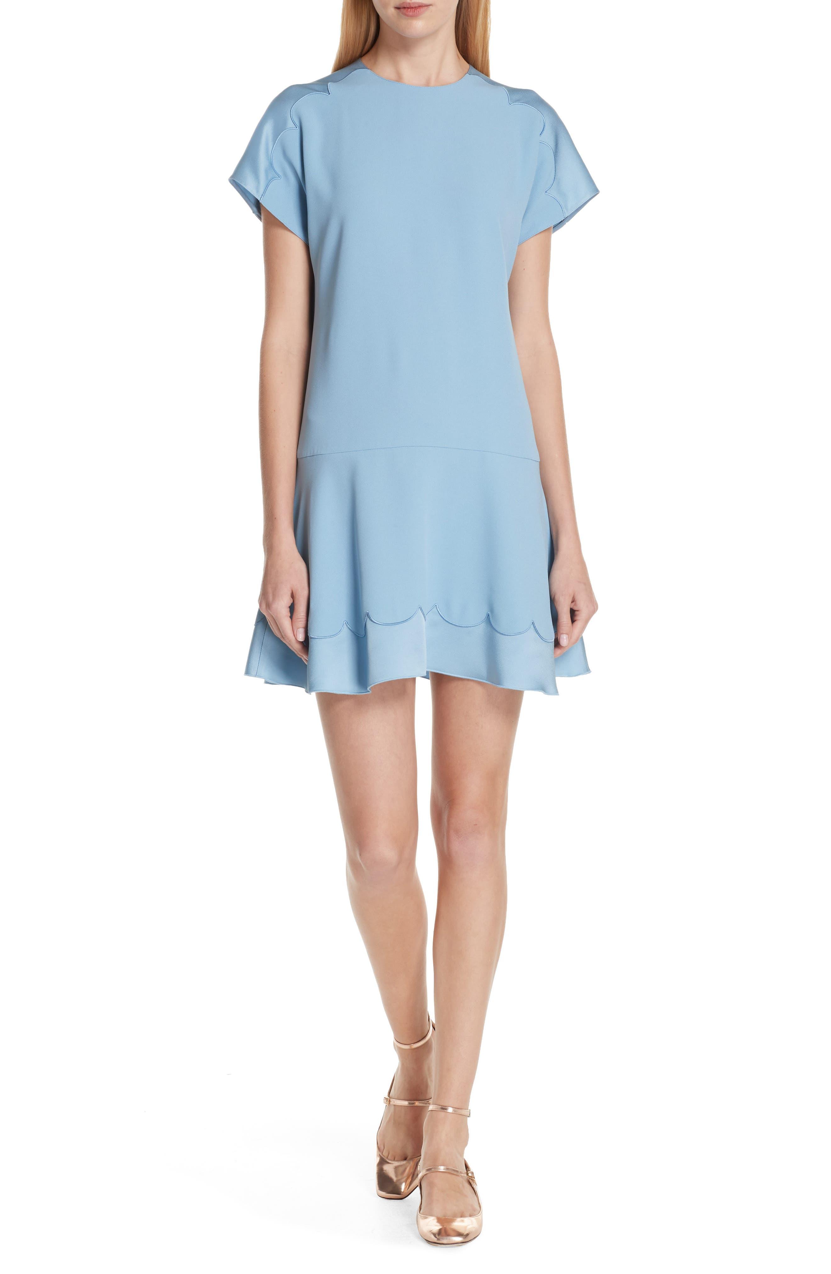 Scalloped Trim Mini Dress