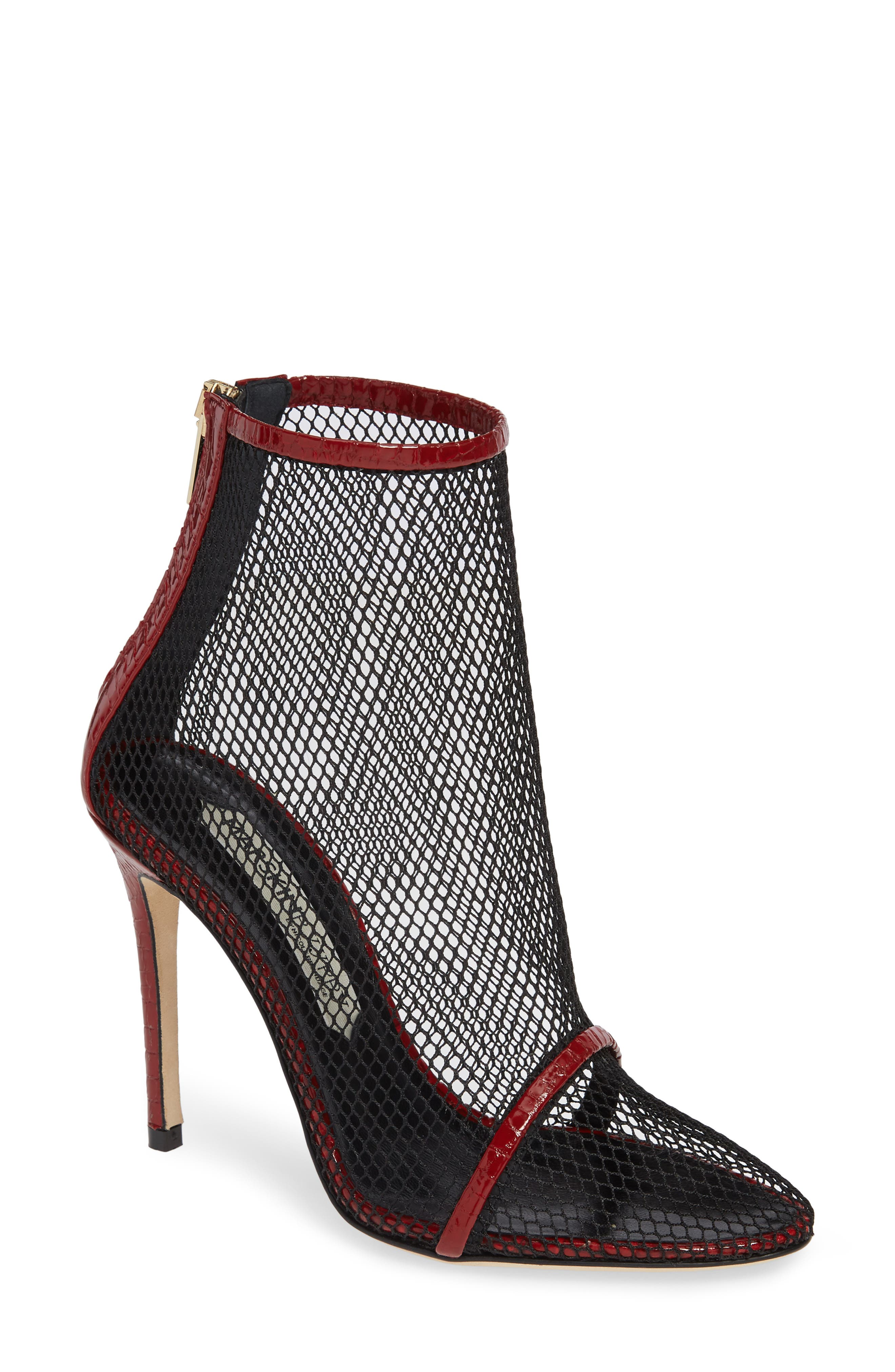 WOLFORD CROC EMBOSSED BOOTIE