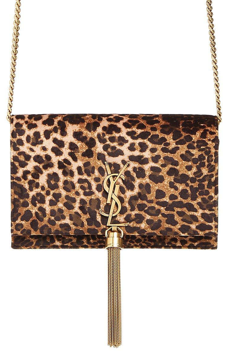 Saint Laurent Kate Leopard Print Wallet on a Chain | Nordstrom