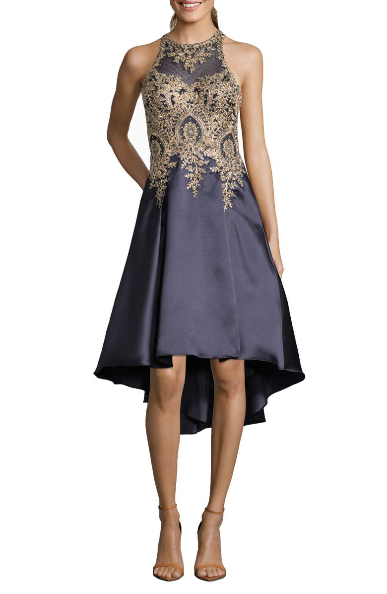 Embroidered High/Low Mikado Cocktail Dress