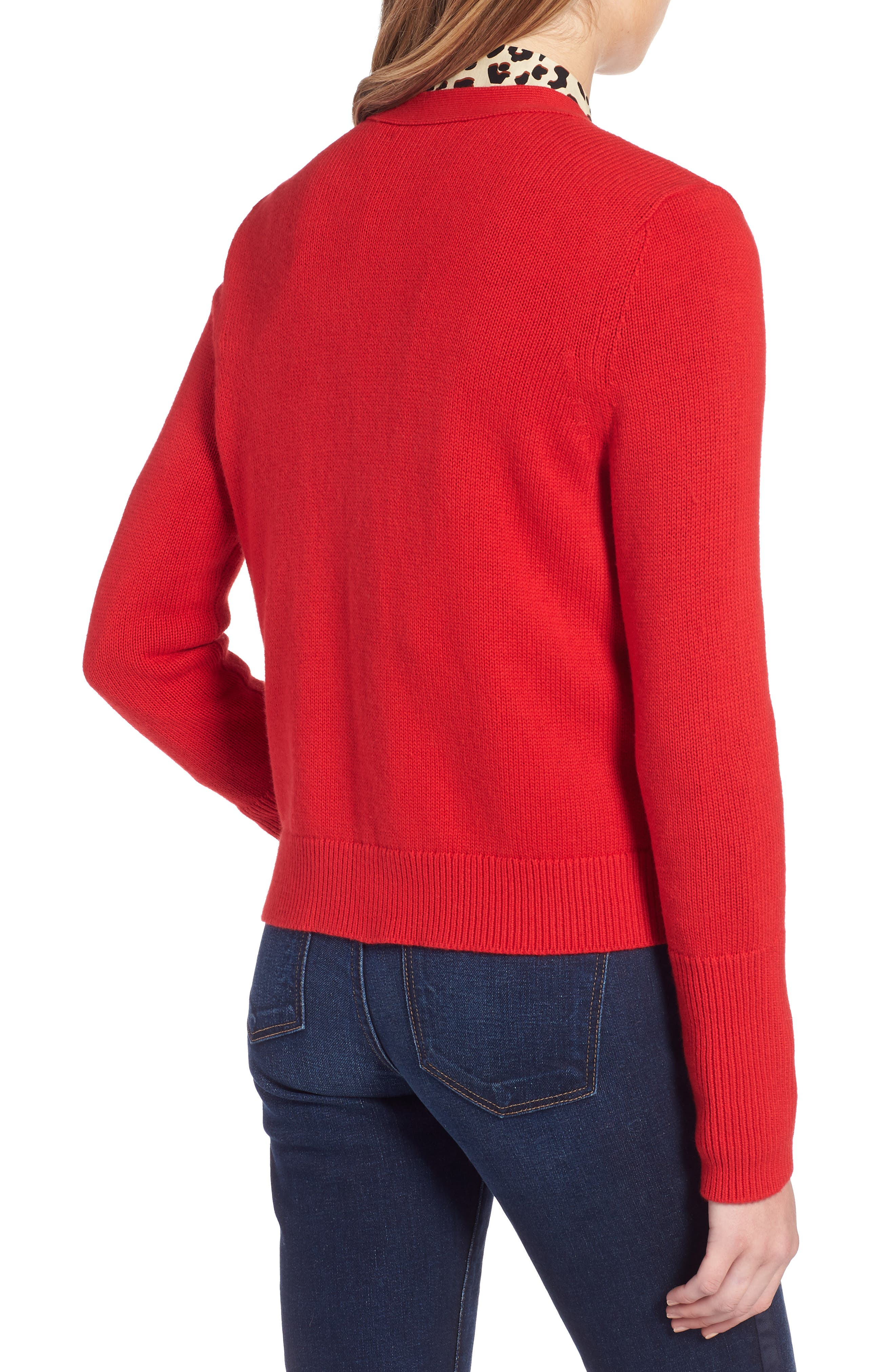Cotton Cashmere Colorblock Cardigan,                             Alternate thumbnail 2, color,                             Red Chinoise