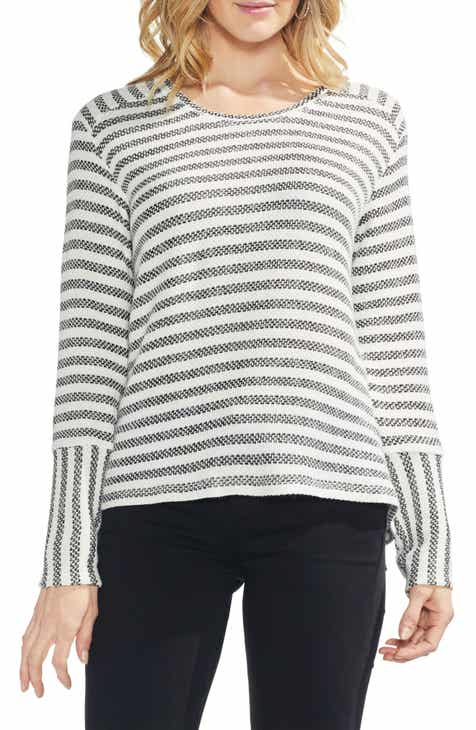 Vince Camuto Mixed Media Pique Bar Stripe Sweater