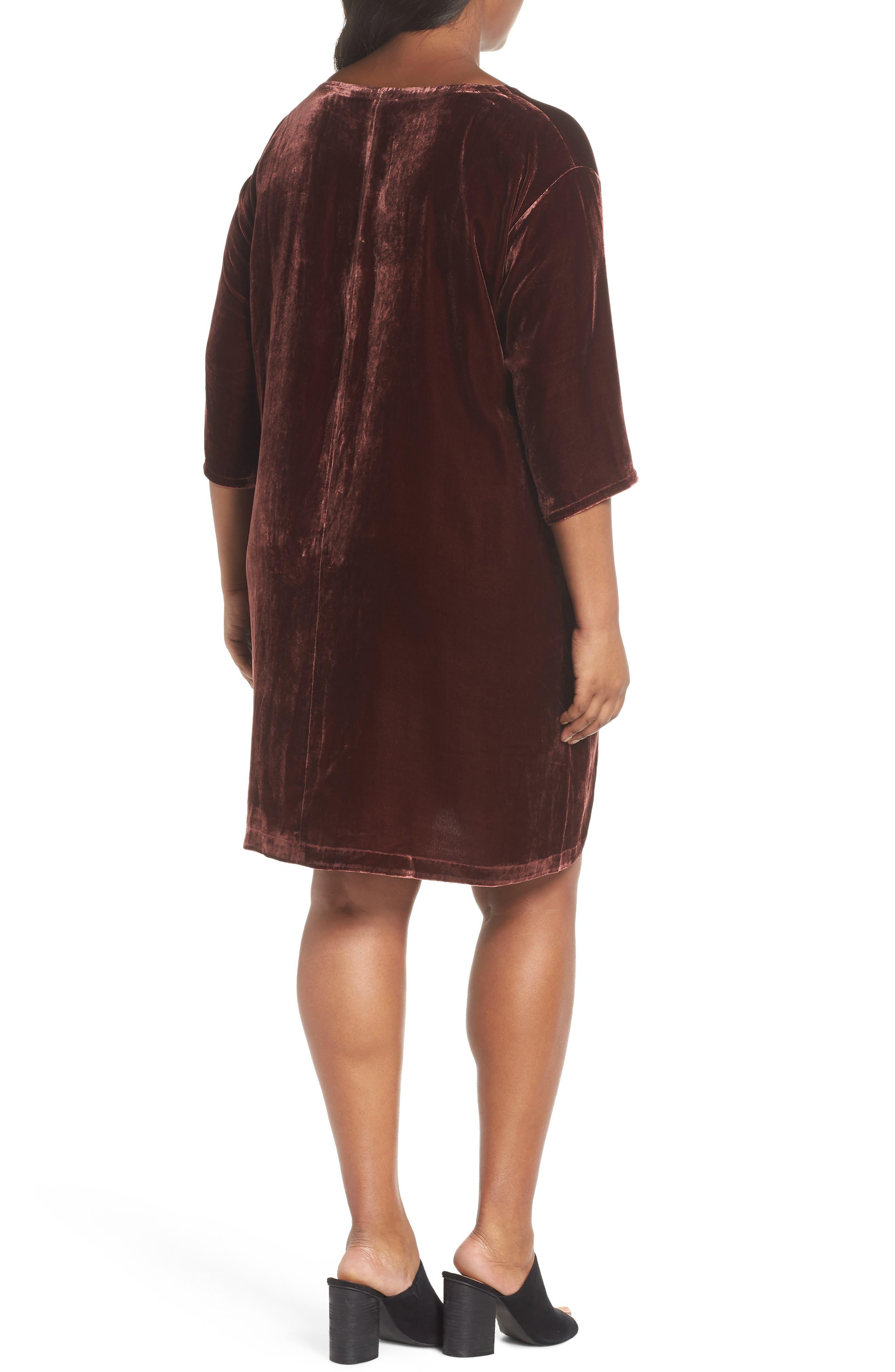Velvet Shift Dress,                             Alternate thumbnail 4, color,                             Dark Monterey