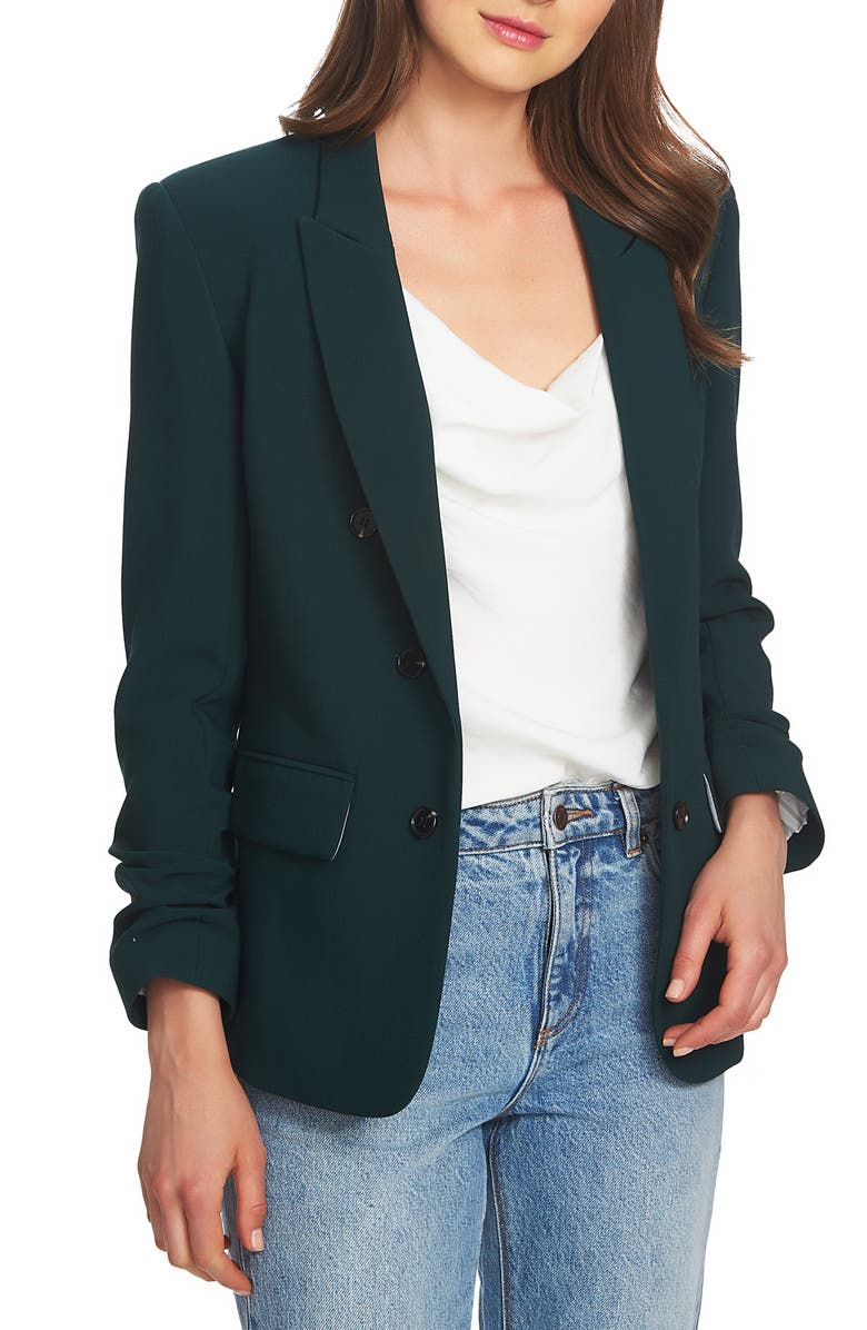 Ruched Sleeve Stretch Crepe Blazer