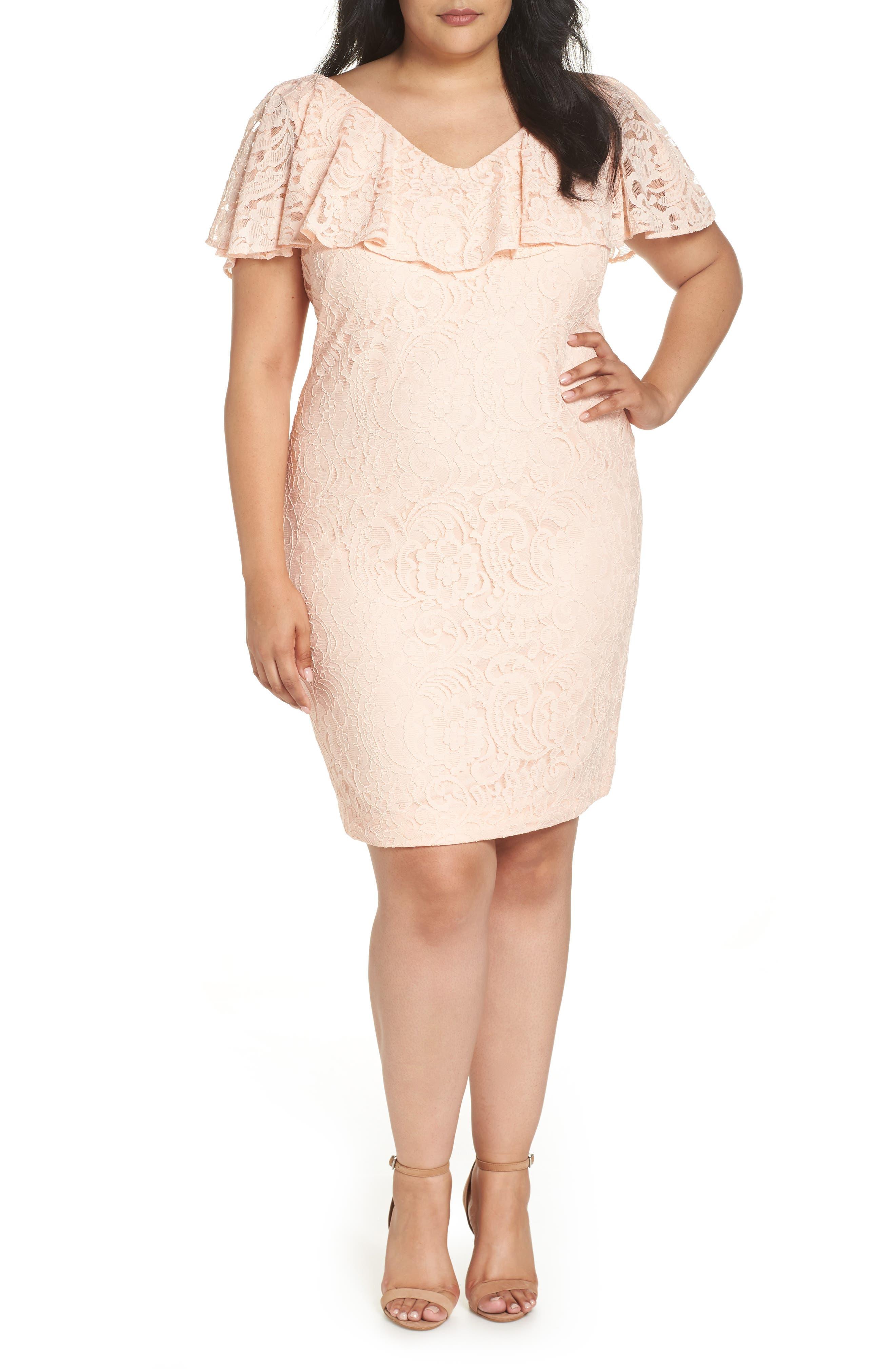 Lauren Ralph Lauren Lace Sheath Dress (Plus Size)