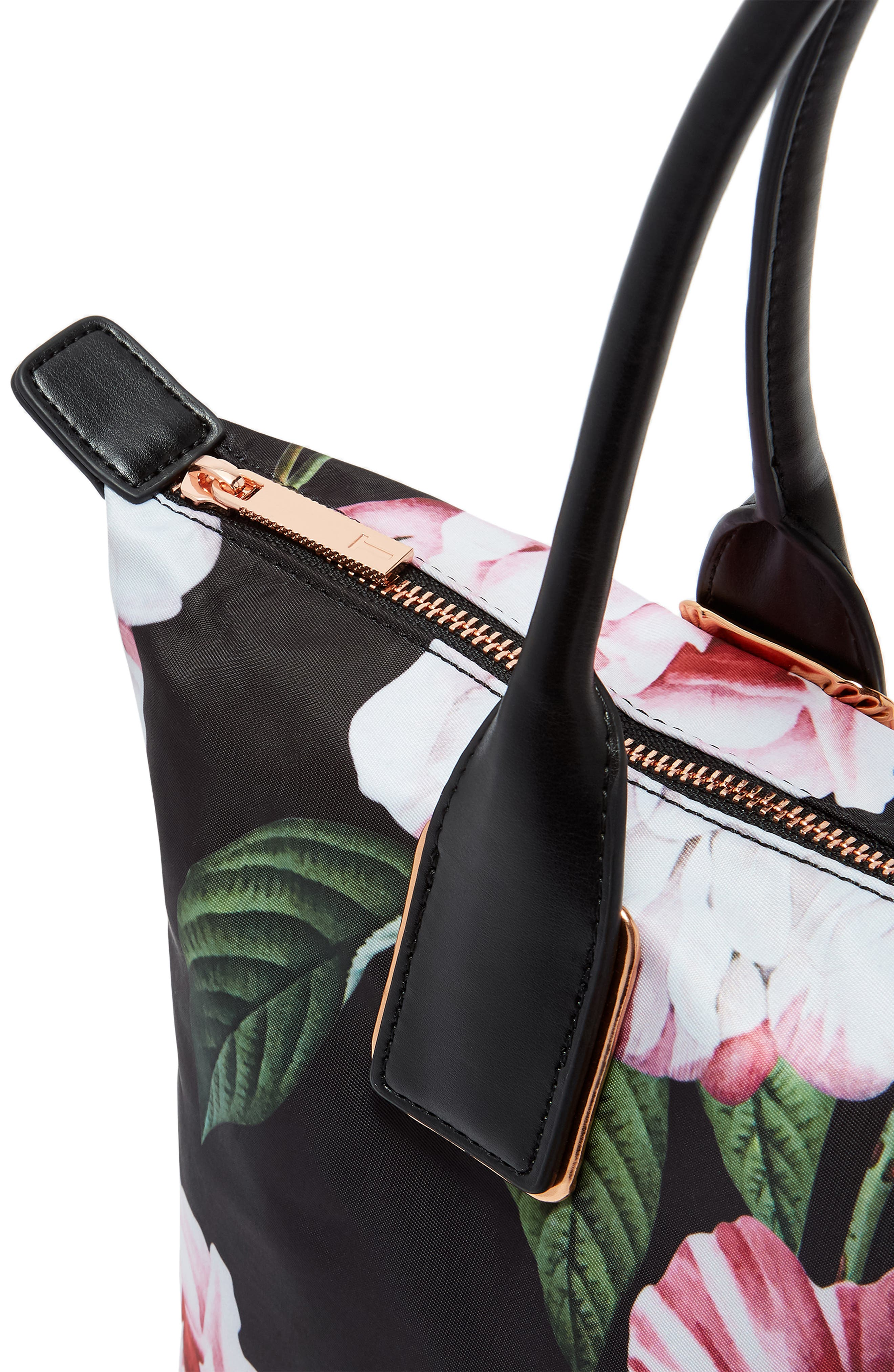 Small Iguazu Print Nylon Tote,                             Alternate thumbnail 4, color,                             Black