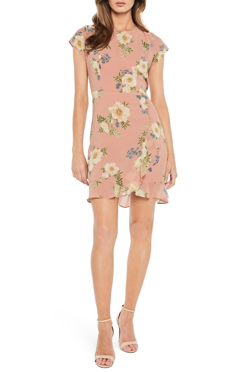 Floral Lace-Up Chiffon Dress