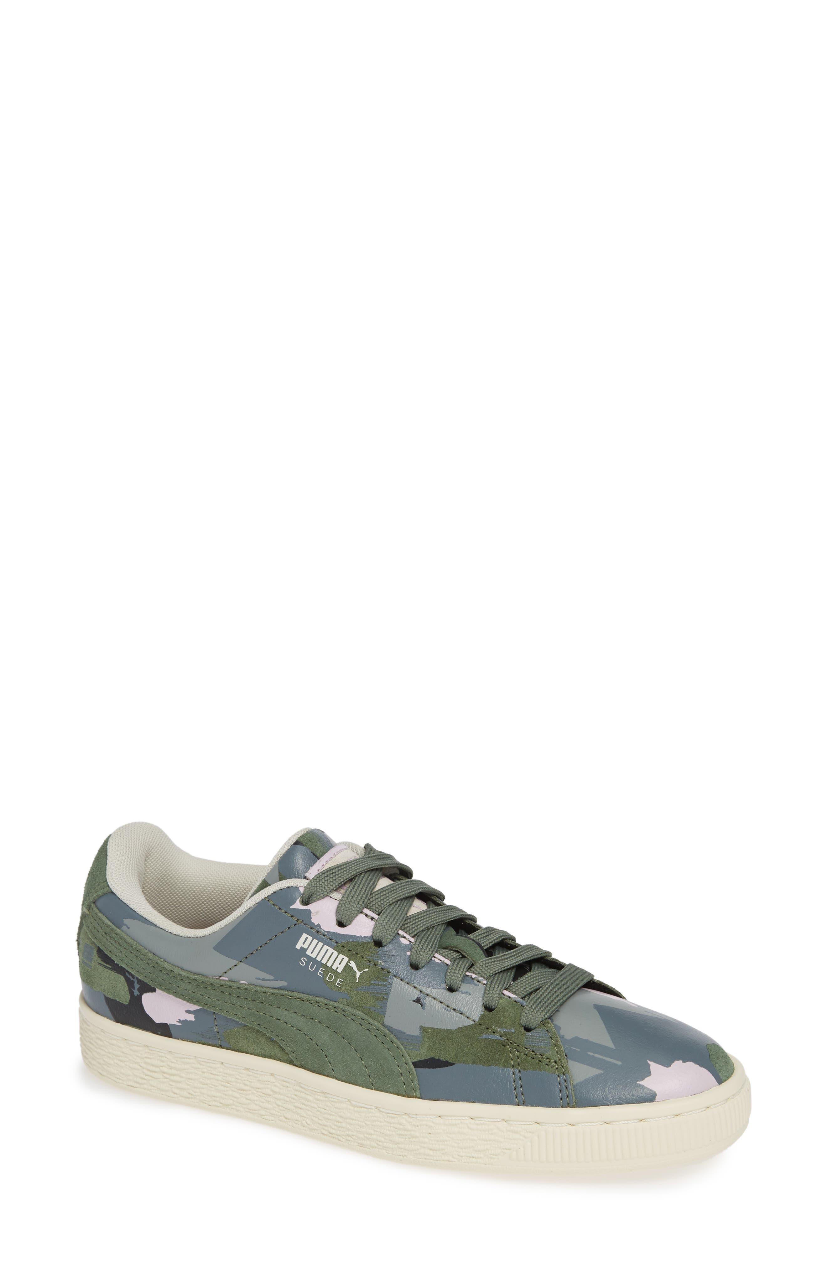 'Suede Classic' Sneaker,                             Main thumbnail 1, color,                             Laurel Wreath-White-Orchid