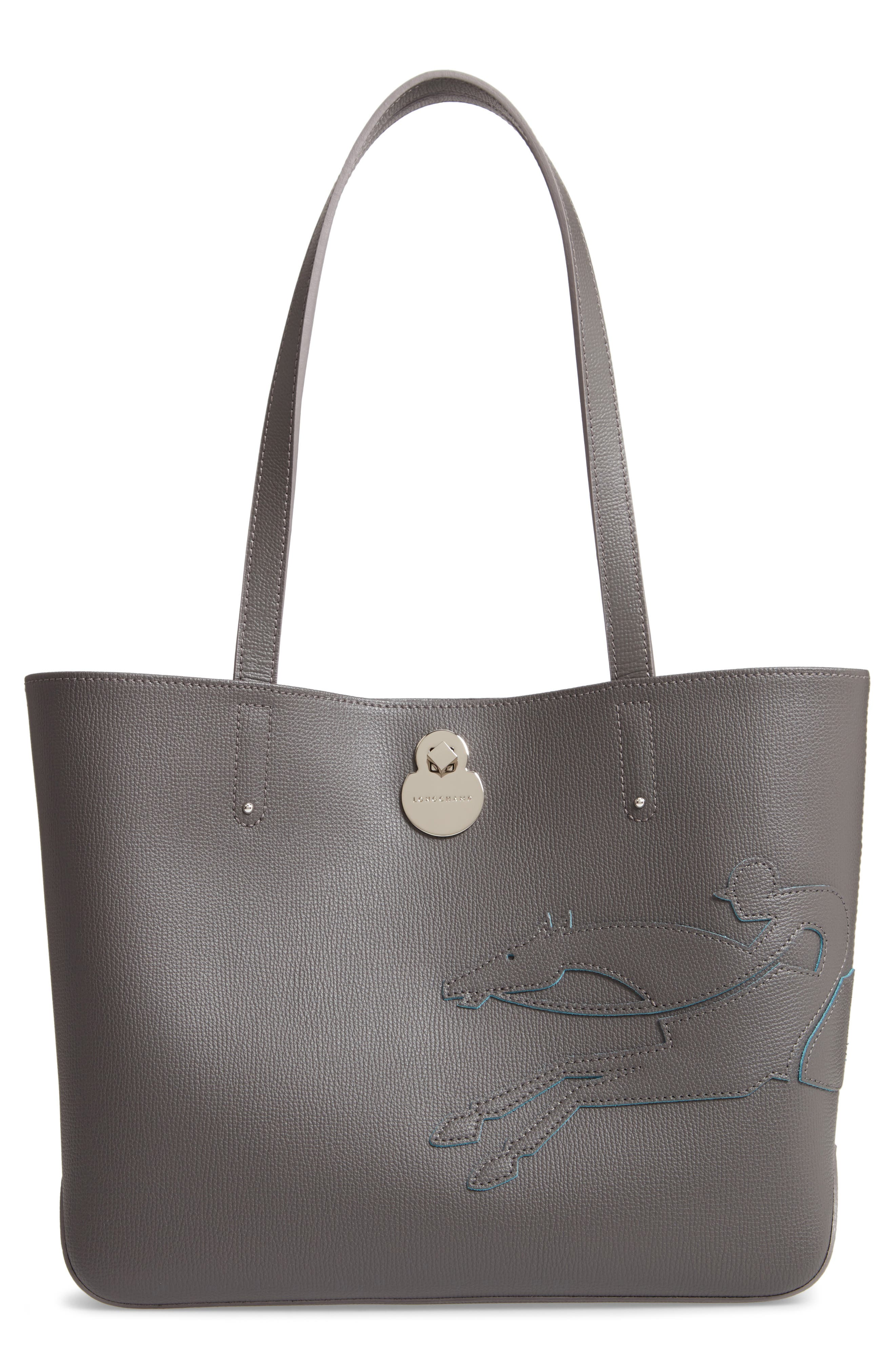 SMALL SHOP-IT LEATHER TOTE - GREY