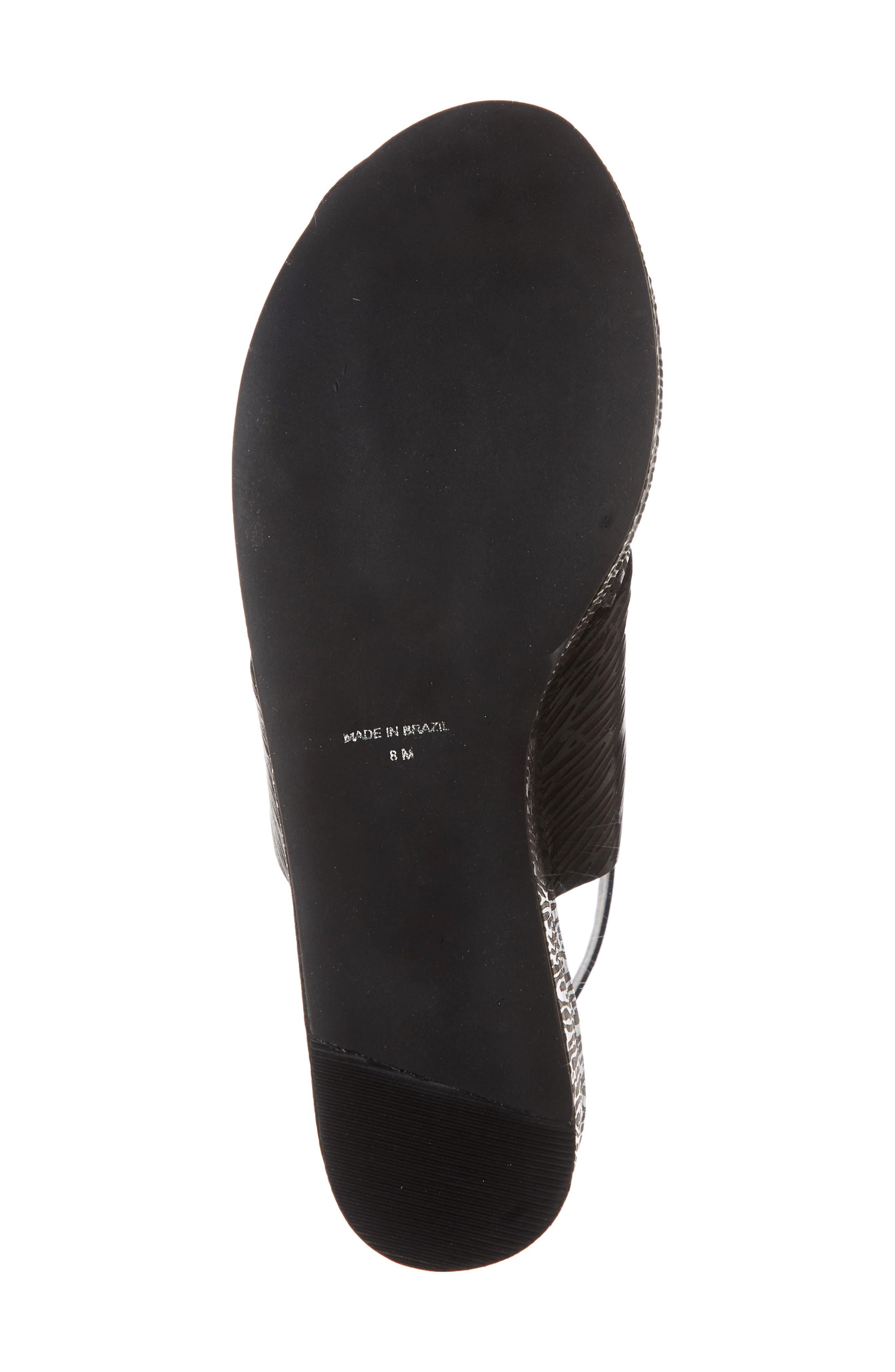 Runway Wedge Sandal,                             Alternate thumbnail 6, color,                             Black Lizard Print Leather