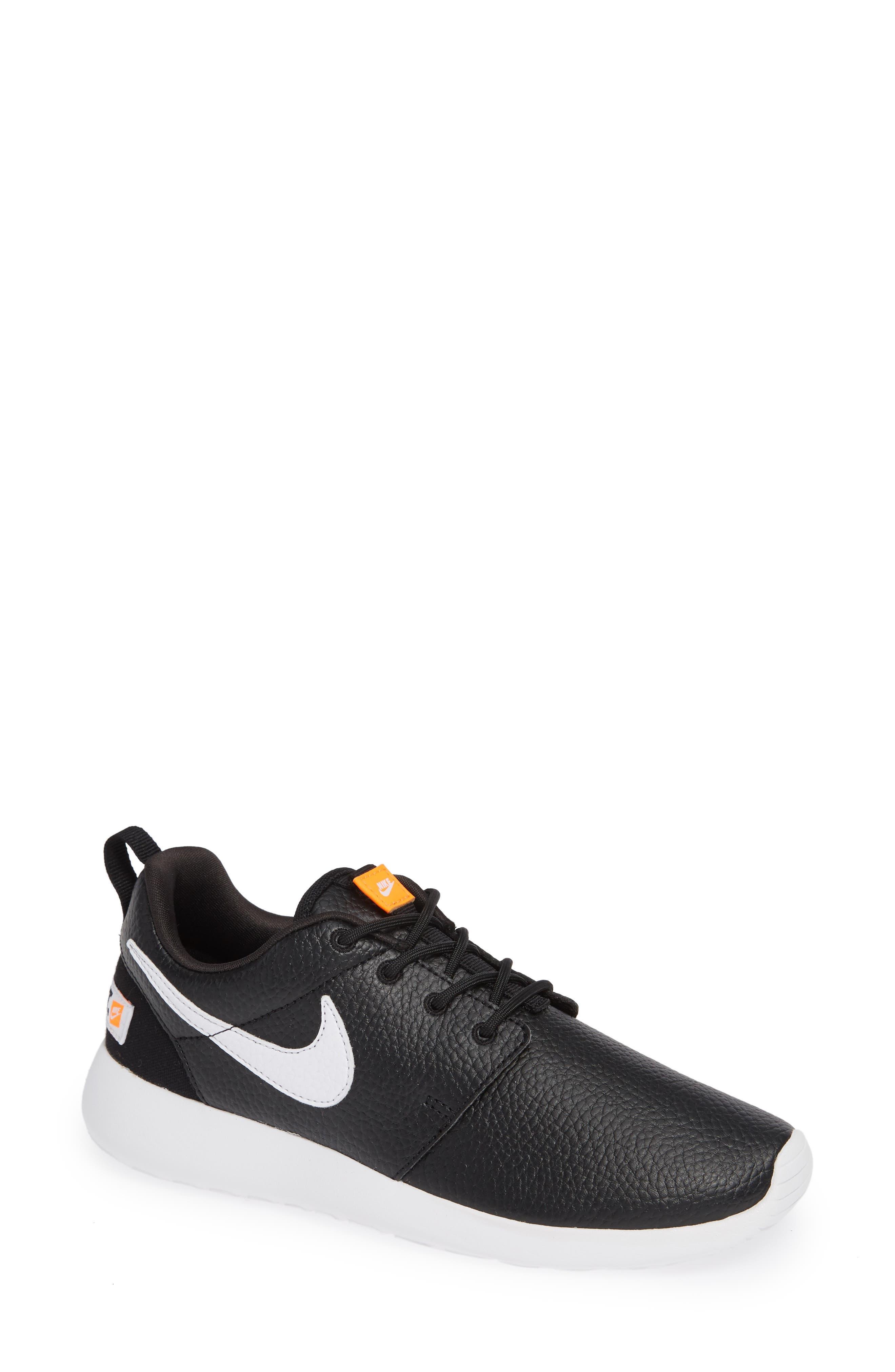 'Roshe Run' Print Sneaker,                             Main thumbnail 1, color,                             Black/ White/ Total Orange