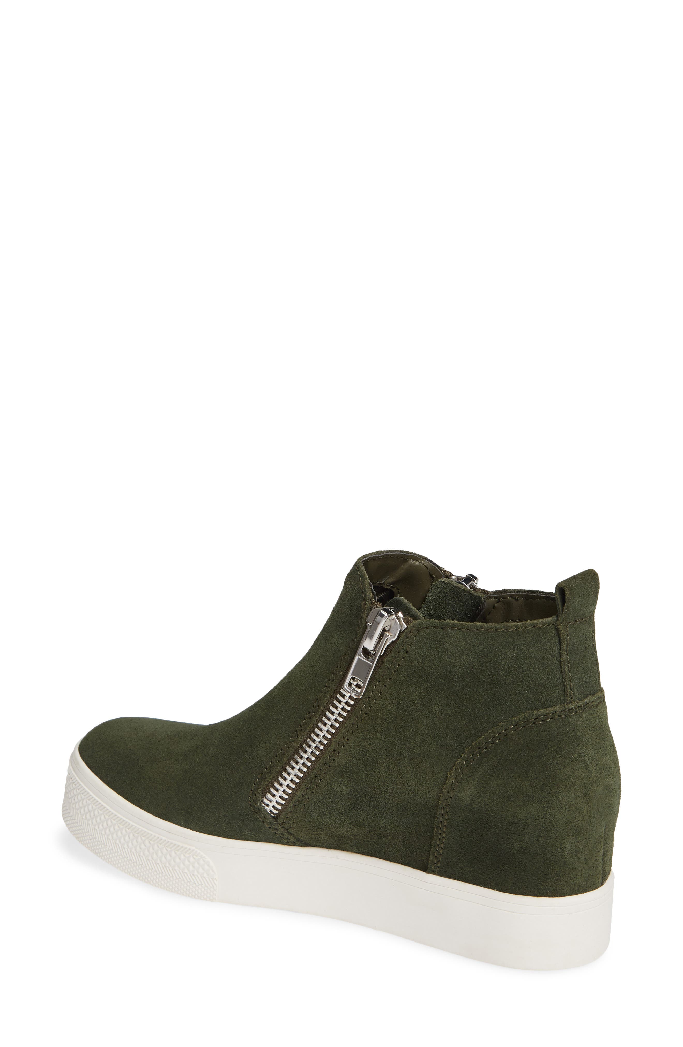 Wedgie High Top Platform Sneaker,                             Alternate thumbnail 2, color,                             Olive/ Olive Suede
