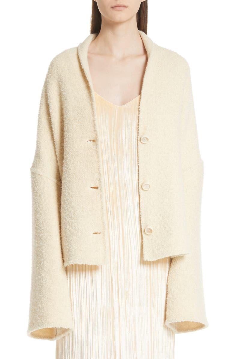 Convertible Wool Blend Boucle Cape Coat