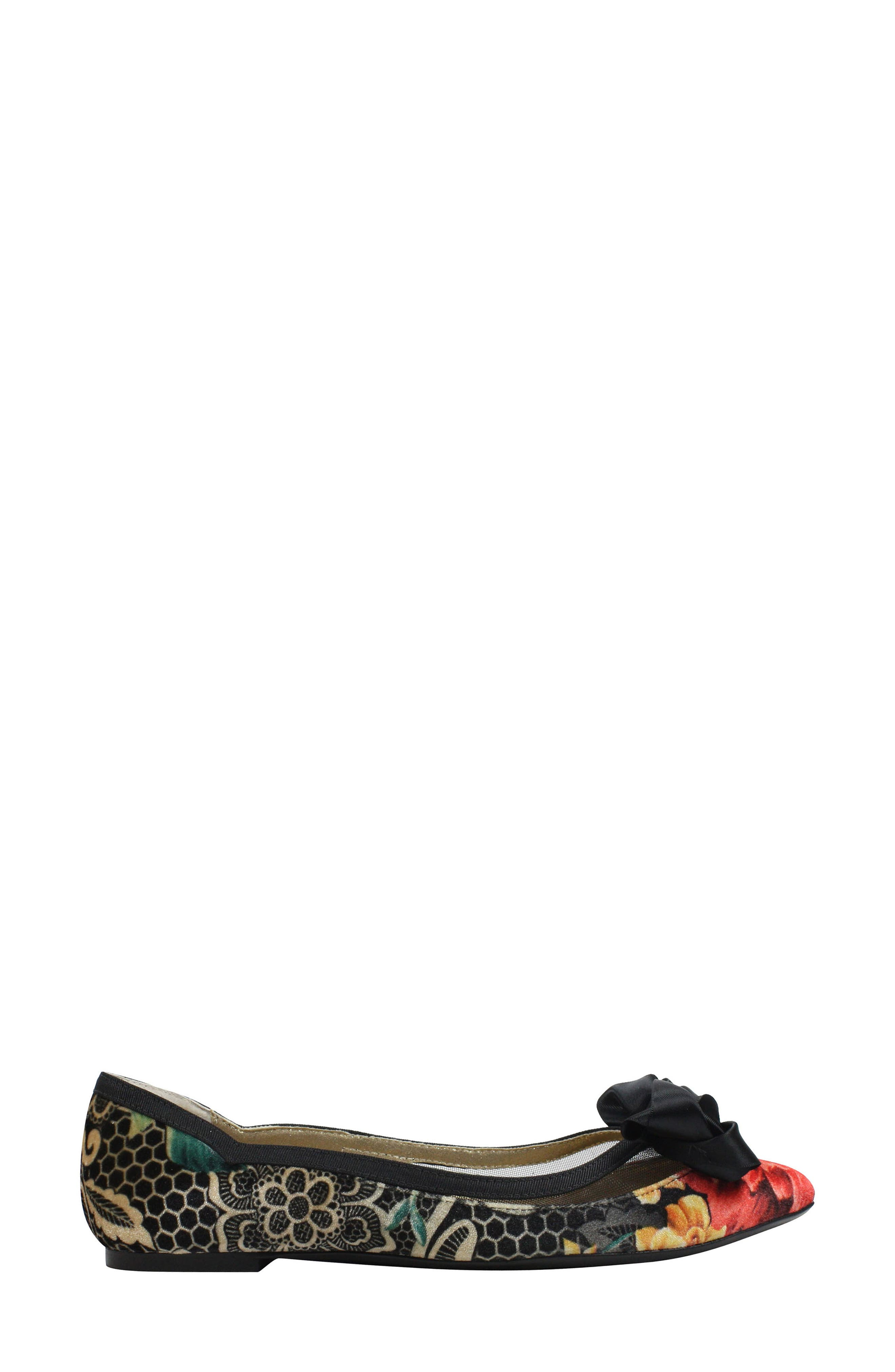 Allitson Bow Flat,                             Alternate thumbnail 3, color,                             Black/ Taupe/ Coral