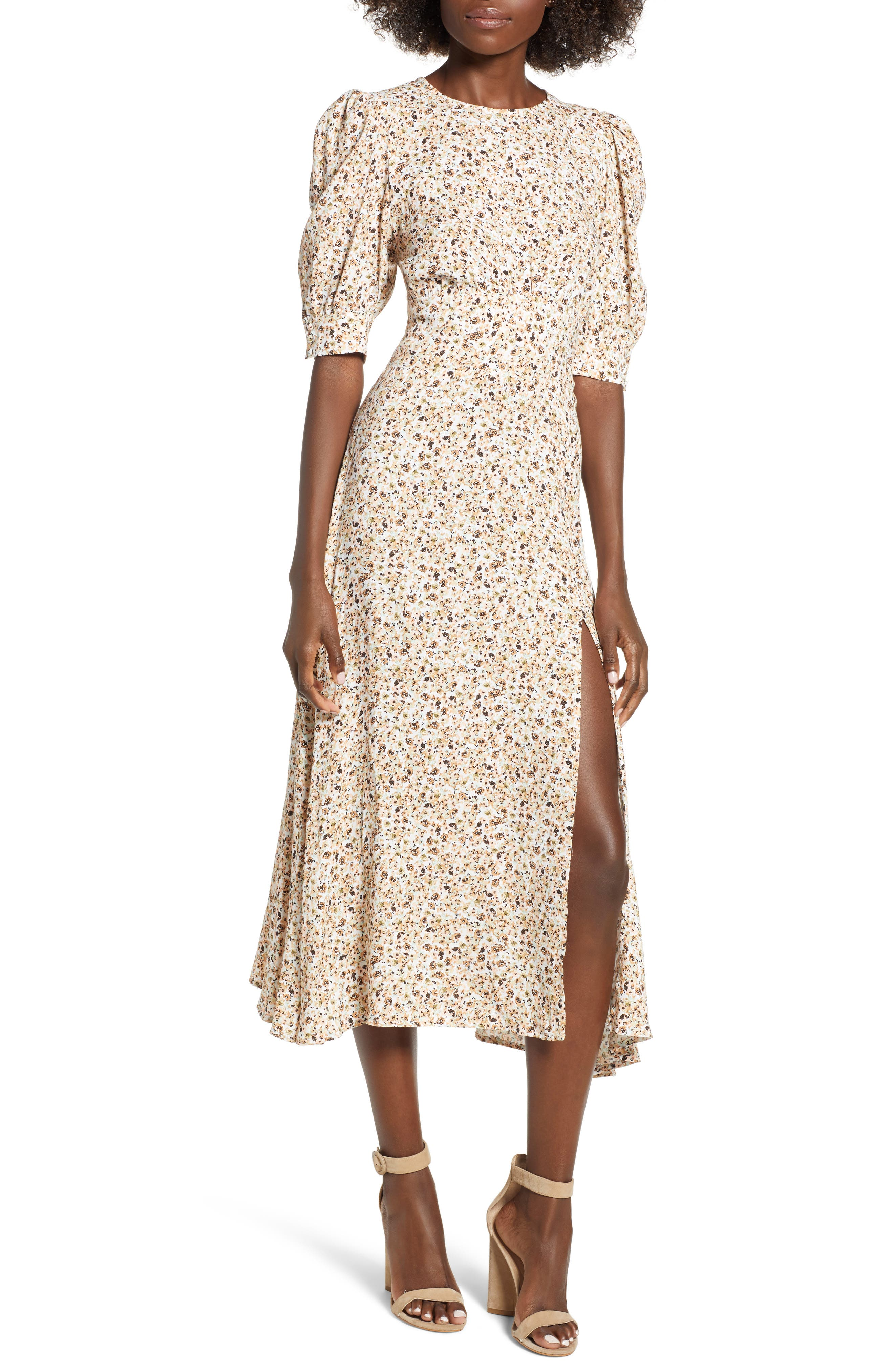 Lala Midi Dress,                         Main,                         color, Beige Ditsy