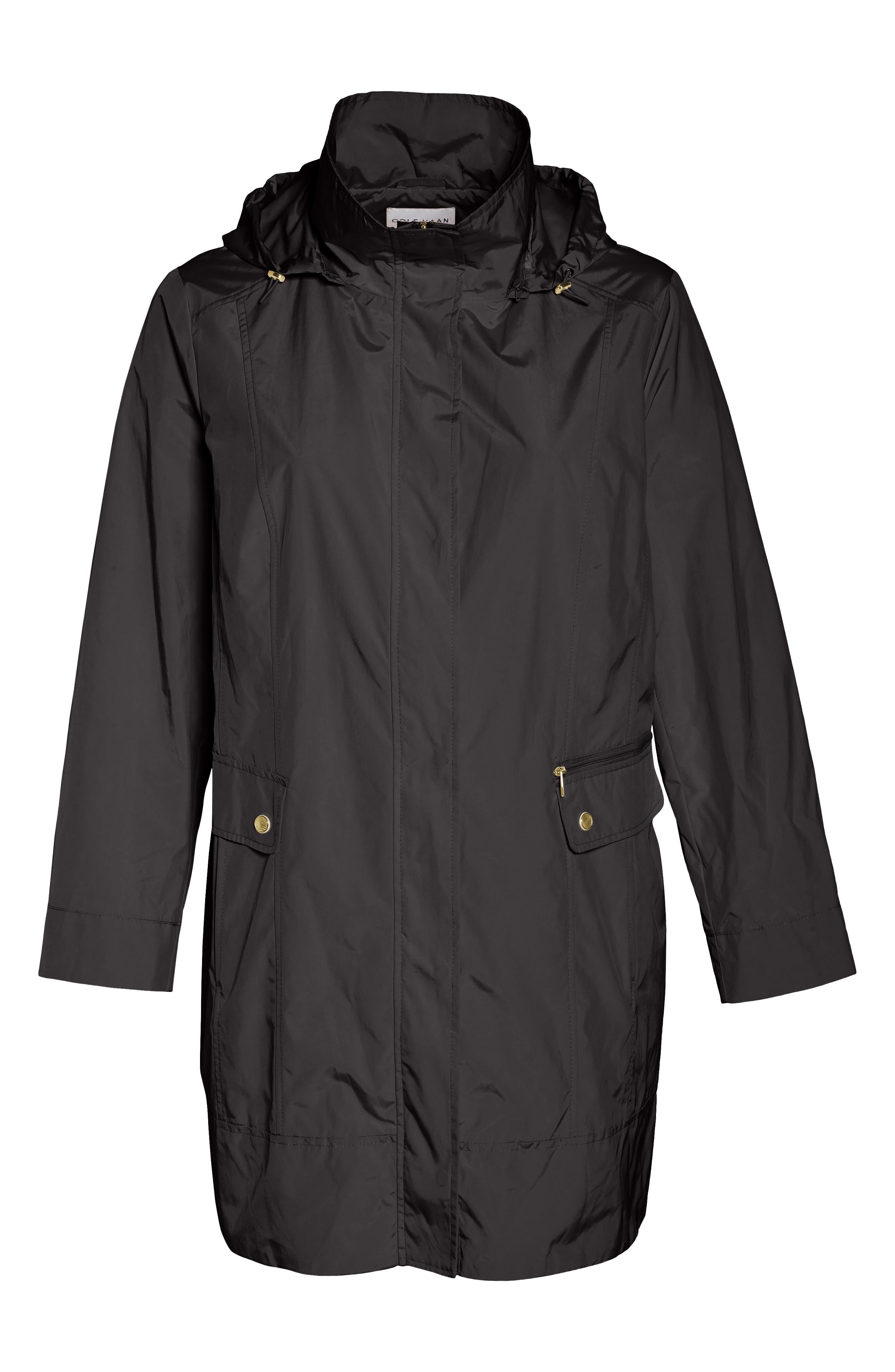 Cole Haan Water Resistant Rain Jacket,                             Main thumbnail 1, color,                             Black