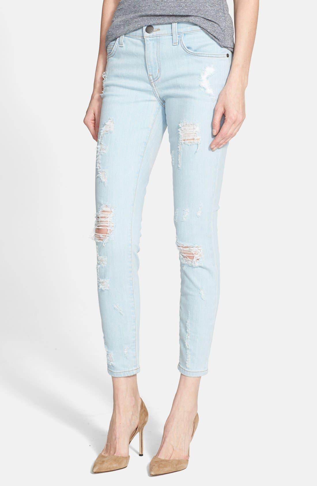 Main Image - Current/Elliott 'The Stiletto' Destroyed Skinny Jeans (Chalky Indigo Shredded)