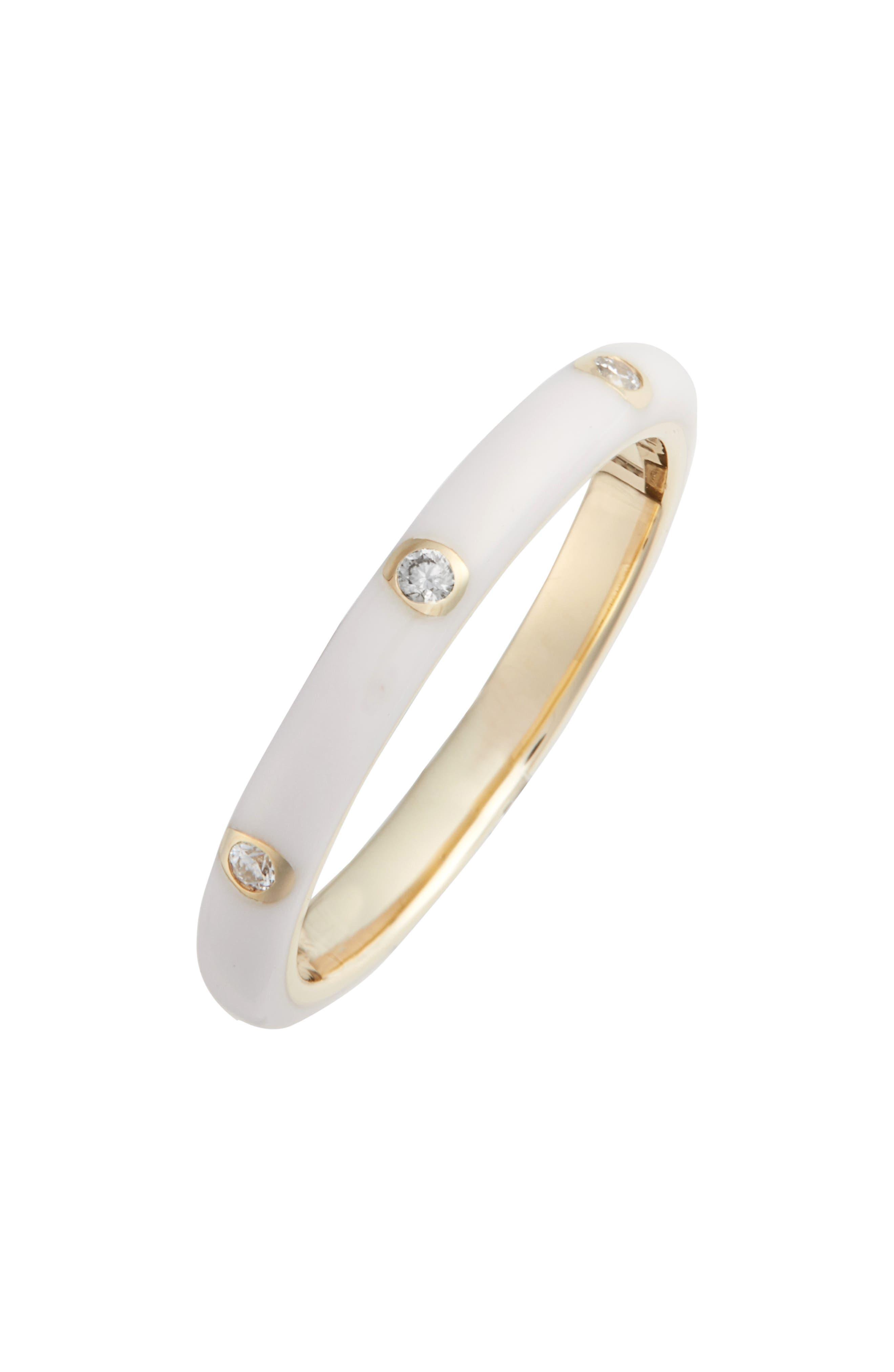 14K Yellow Gold & Three Diamond Enamel Stack Ring in Yellow Gold/ White