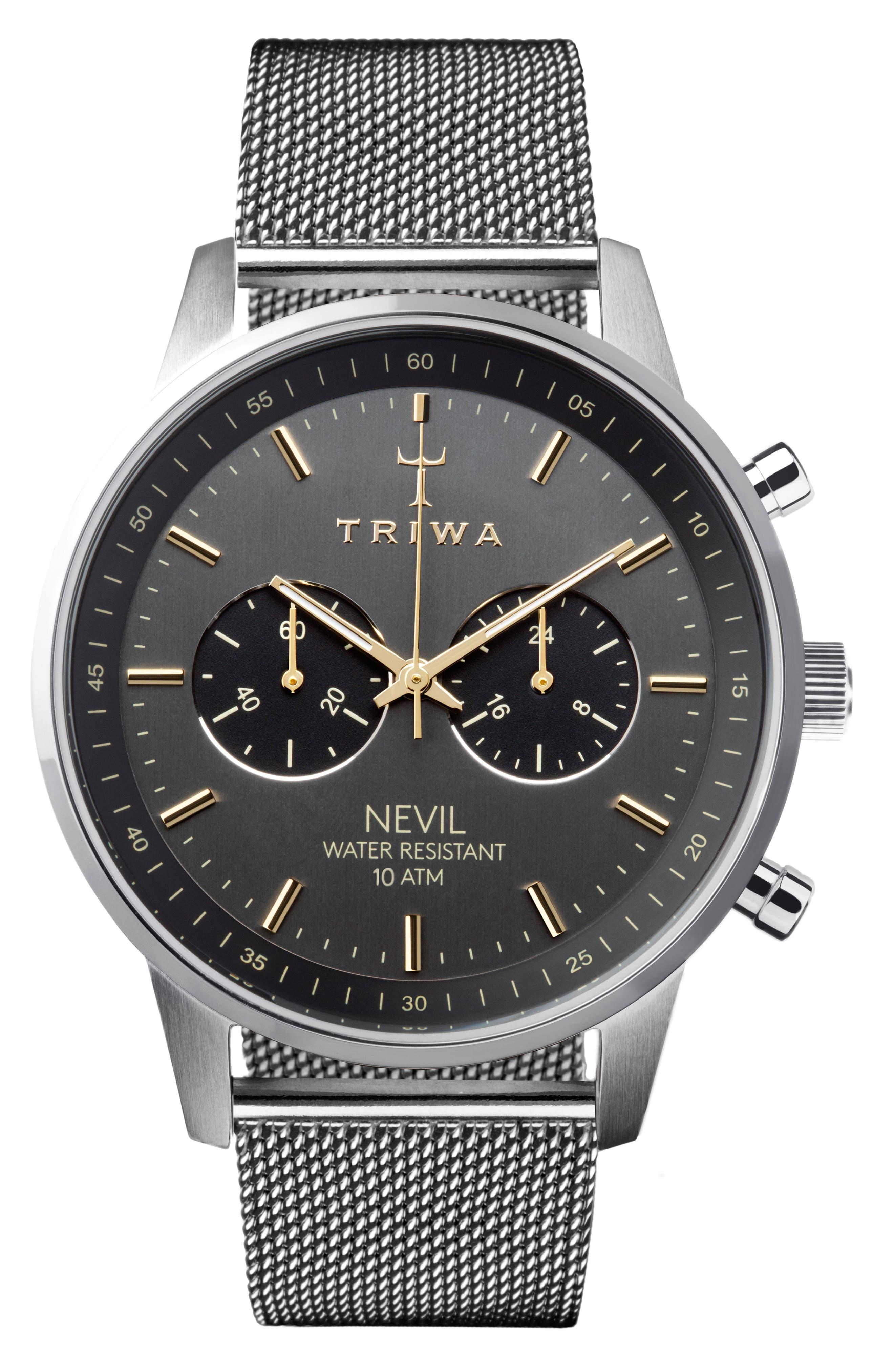 TRIWA Nevil Chronograph Mesh Strap Watch, 42Mm in Silver/ Grey/ Silver
