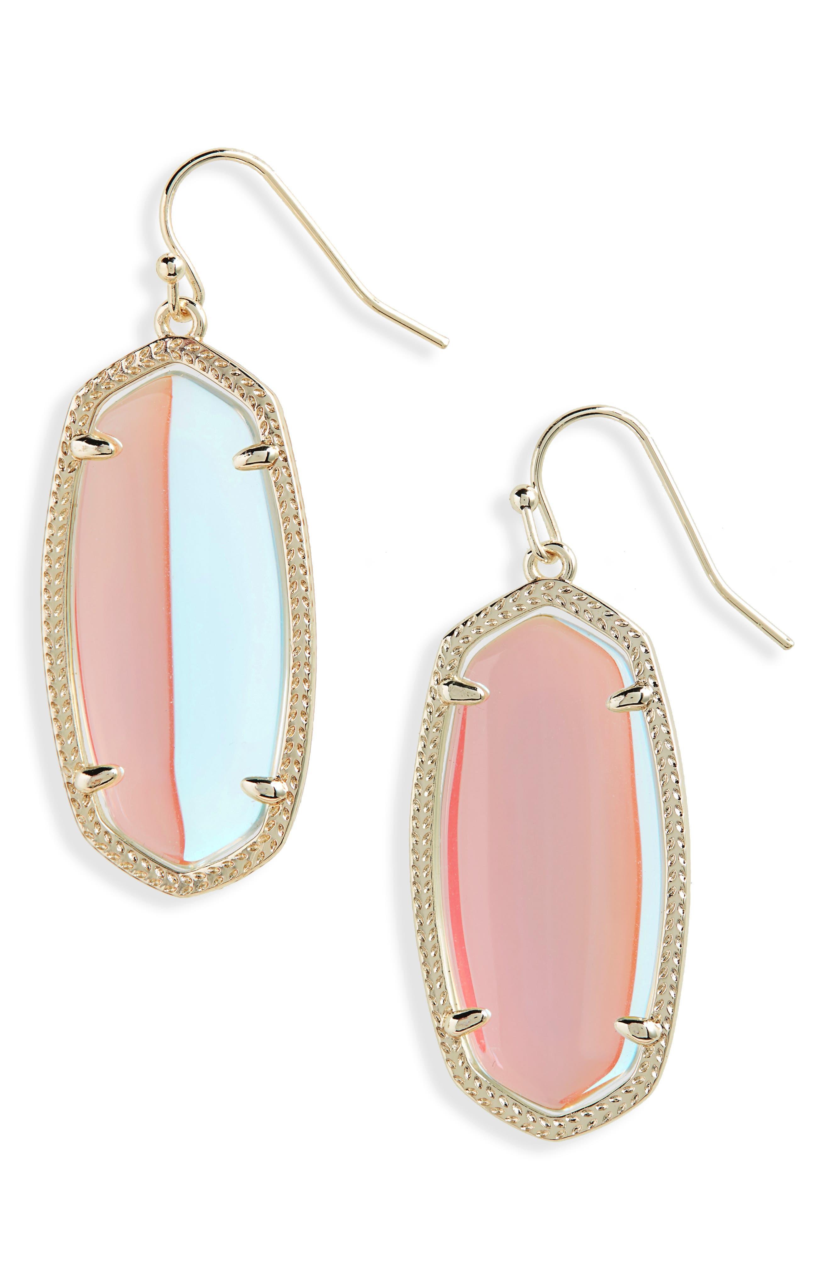 Elle Drop Earrings,                             Main thumbnail 1, color,                             Dichroic Glass/ Gold