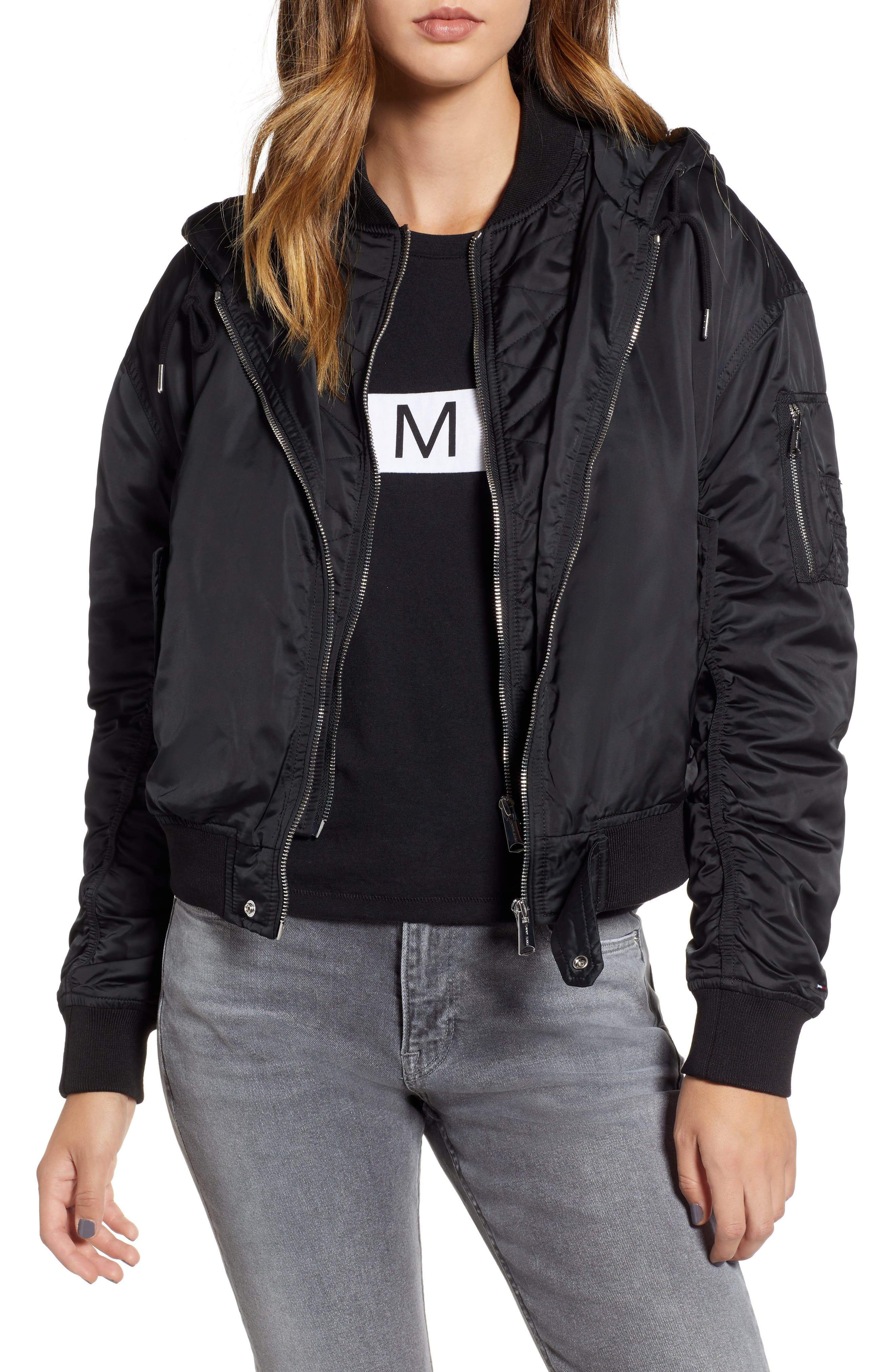 TOMMY JEANS HOODED BOMBER JACKET