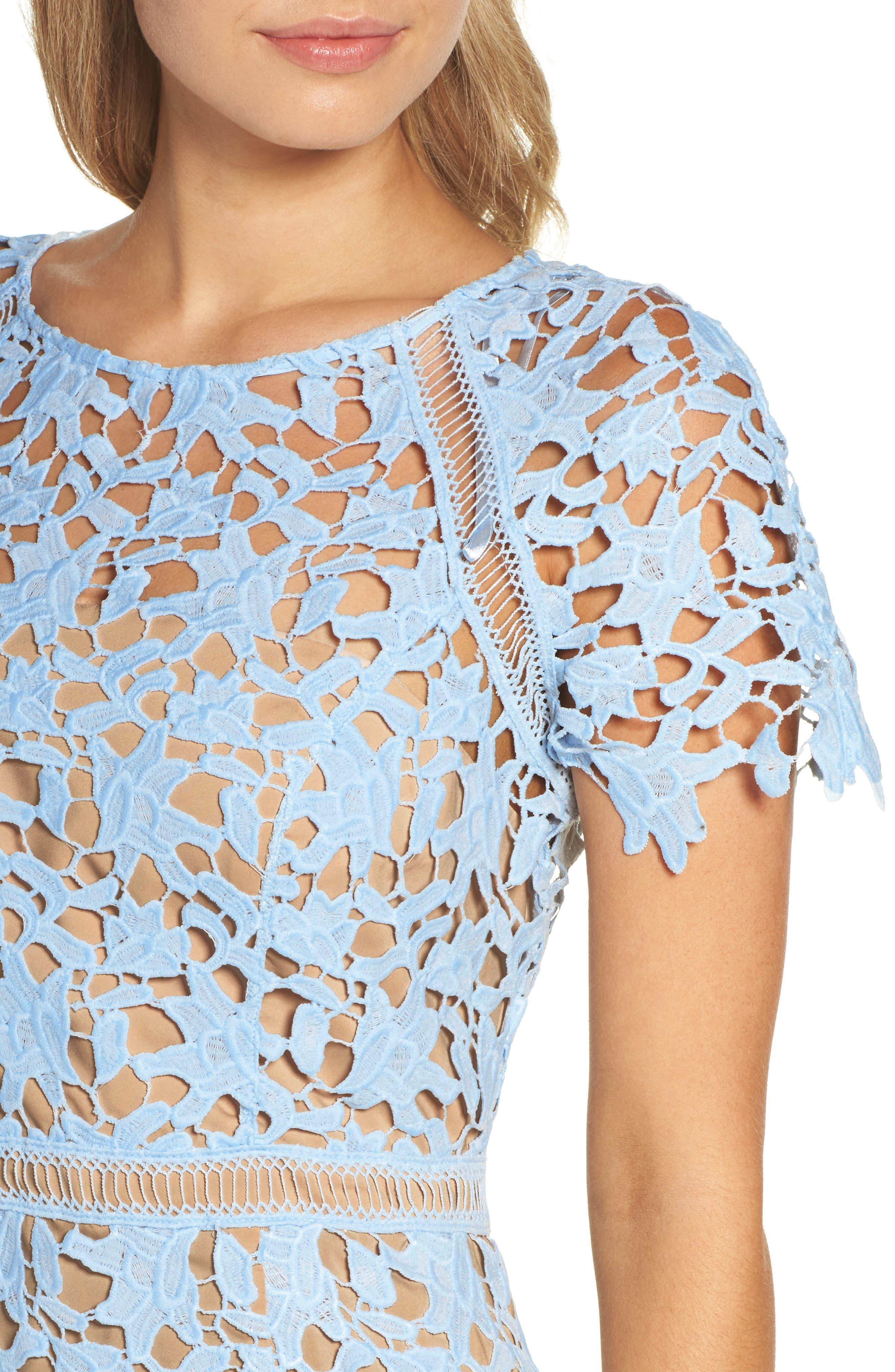 Crochet Overlay Dress,                             Alternate thumbnail 7, color,                             Blue